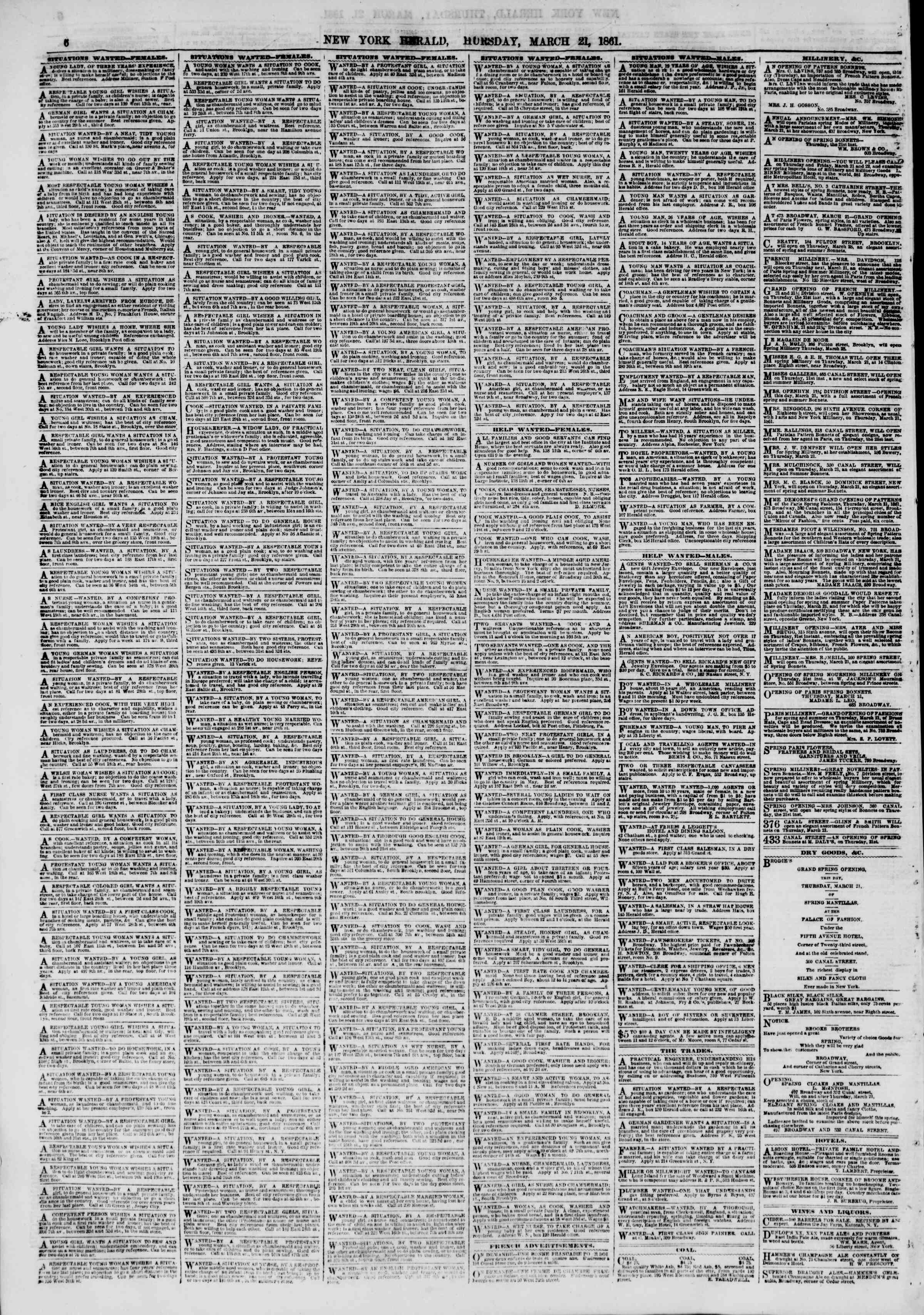 Newspaper of The New York Herald dated March 21, 1861 Page 6