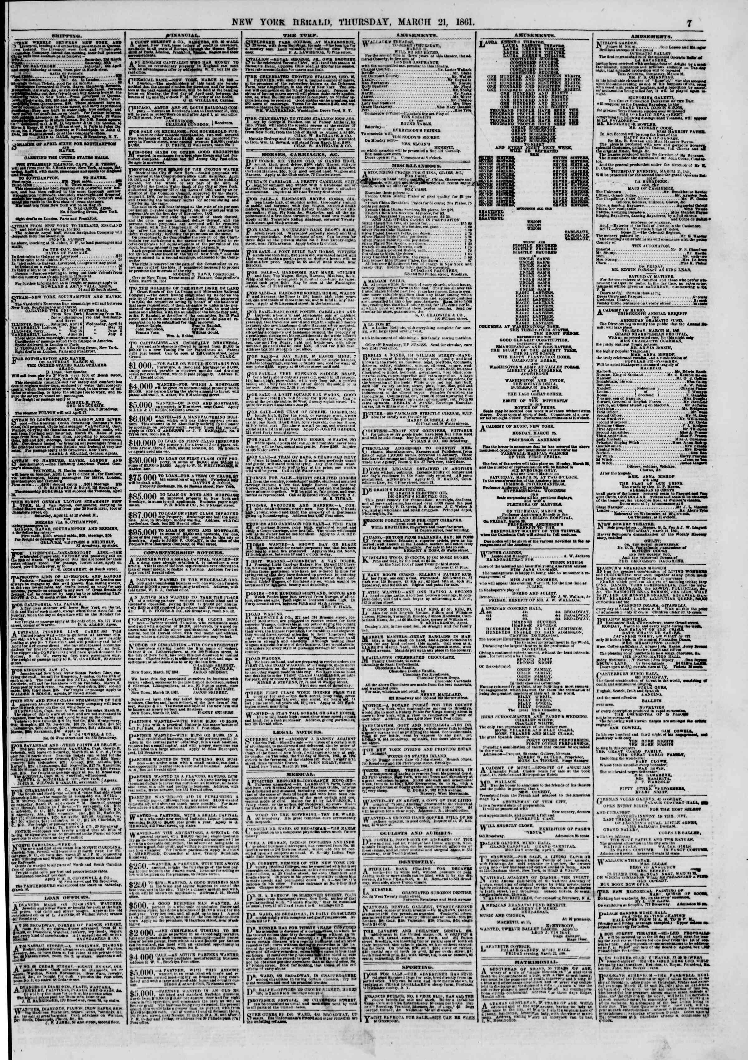 Newspaper of The New York Herald dated March 21, 1861 Page 7