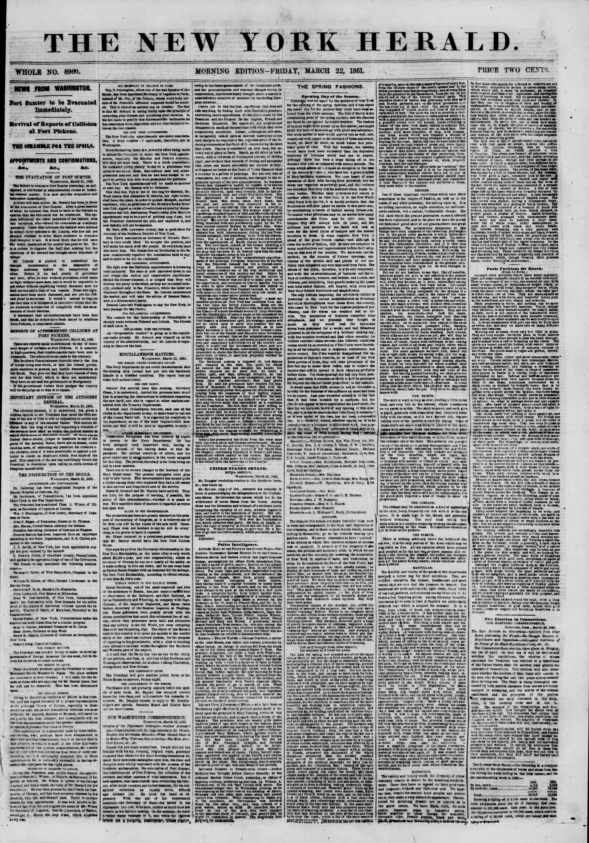 Newspaper of The New York Herald dated March 22, 1861 Page 1