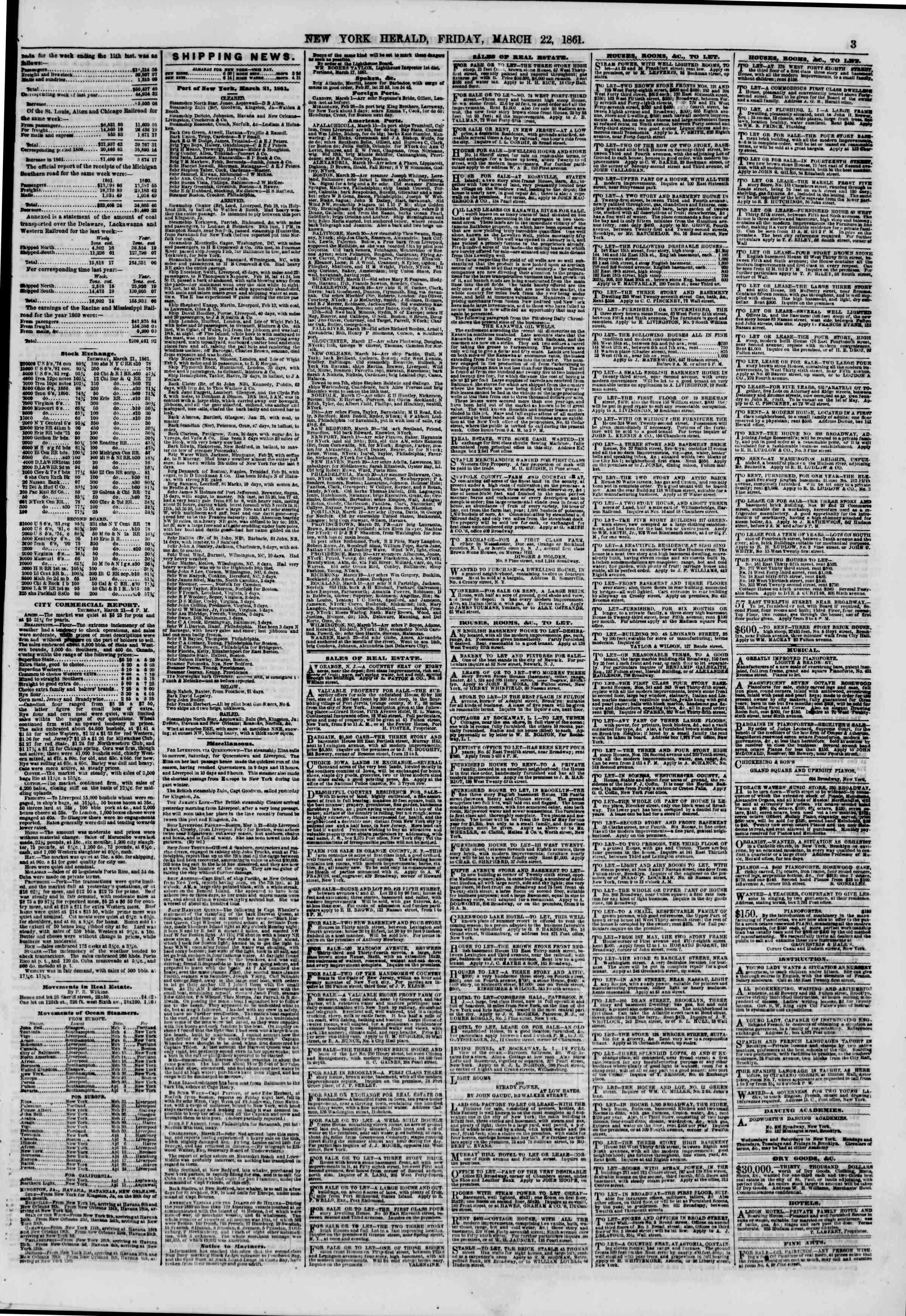 Newspaper of The New York Herald dated March 22, 1861 Page 3