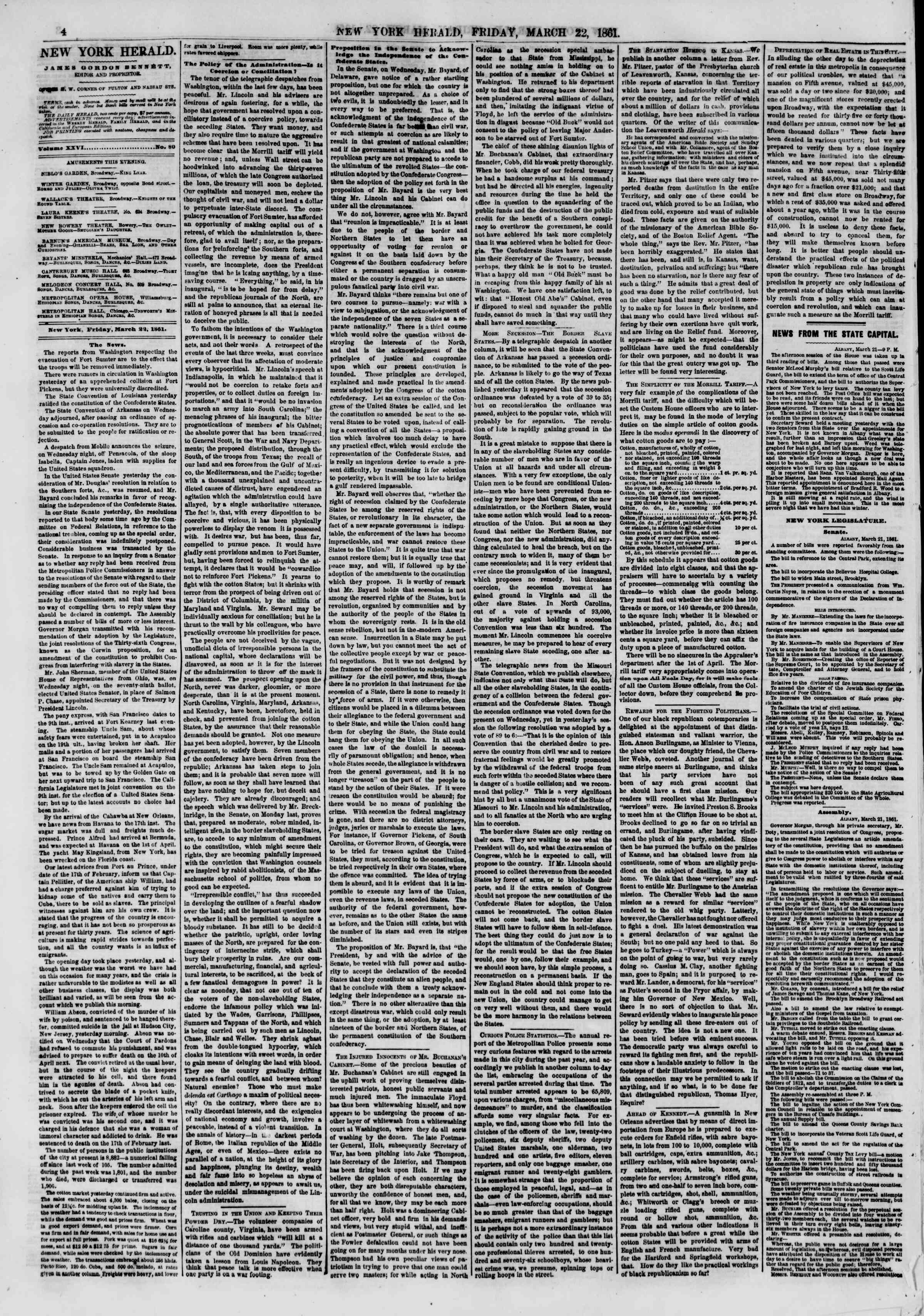 Newspaper of The New York Herald dated March 22, 1861 Page 4