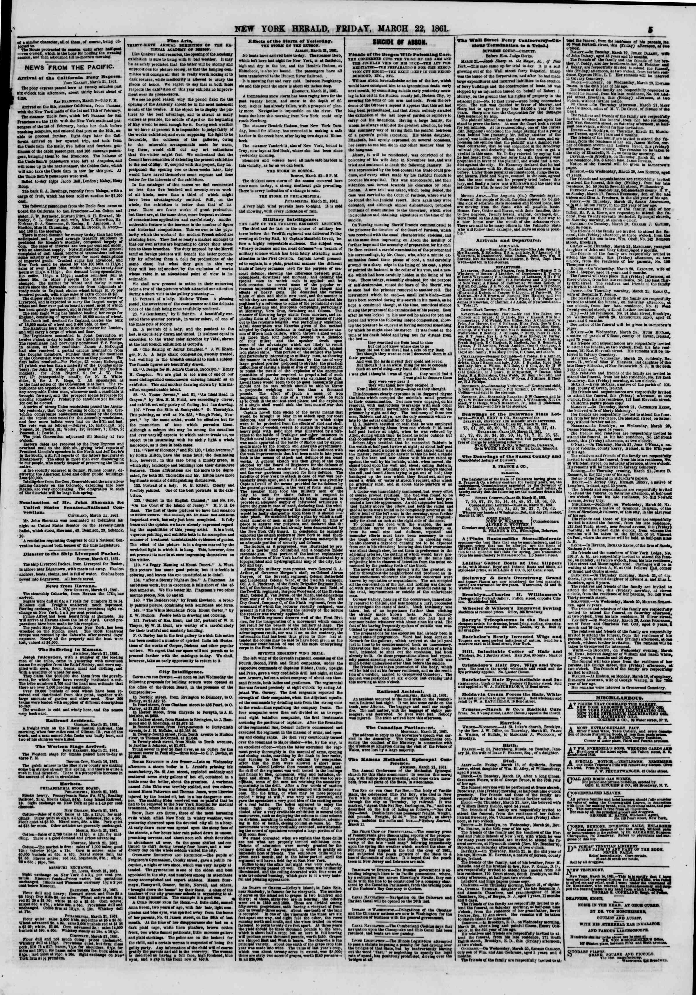 Newspaper of The New York Herald dated March 22, 1861 Page 5