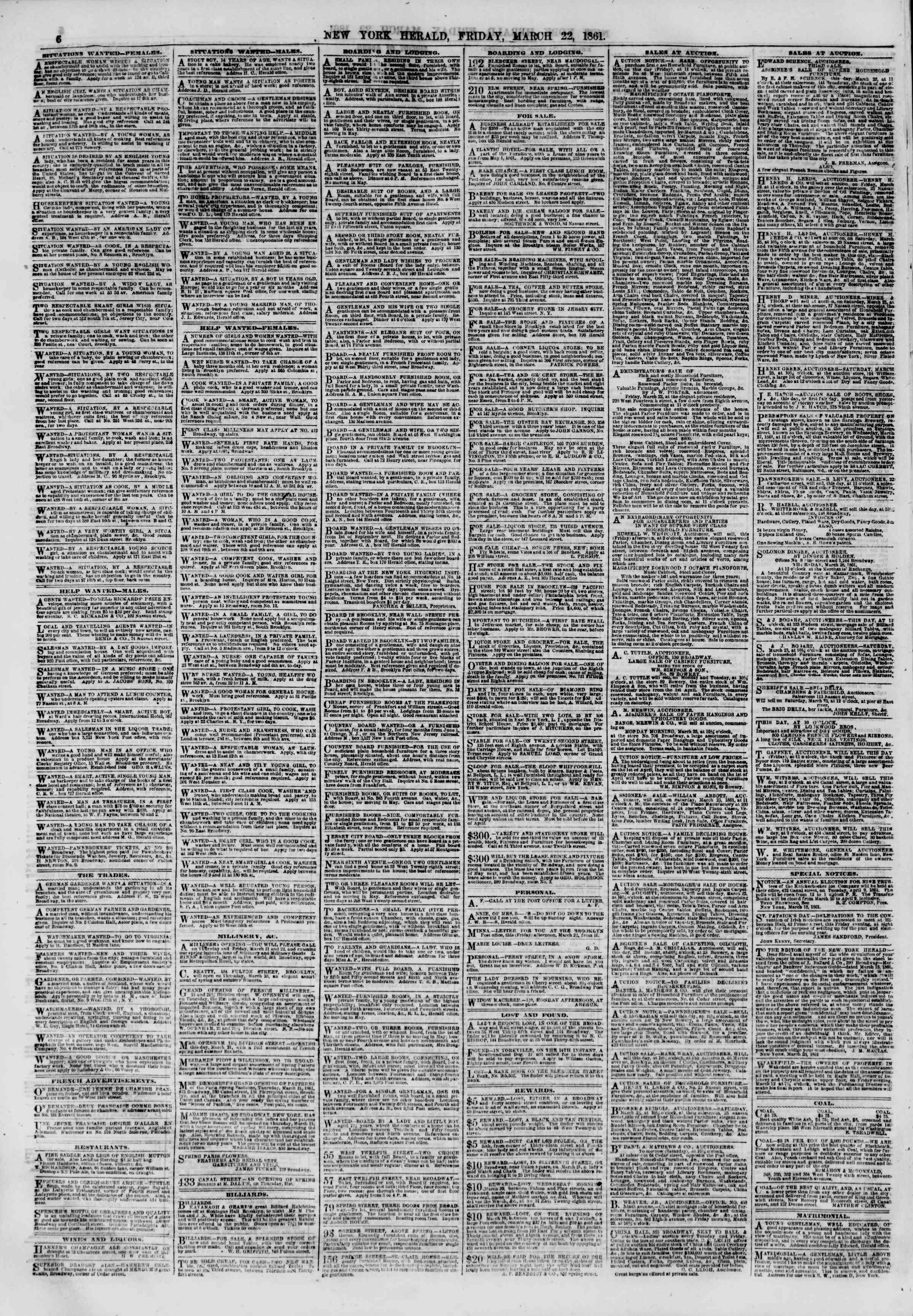 Newspaper of The New York Herald dated March 22, 1861 Page 6