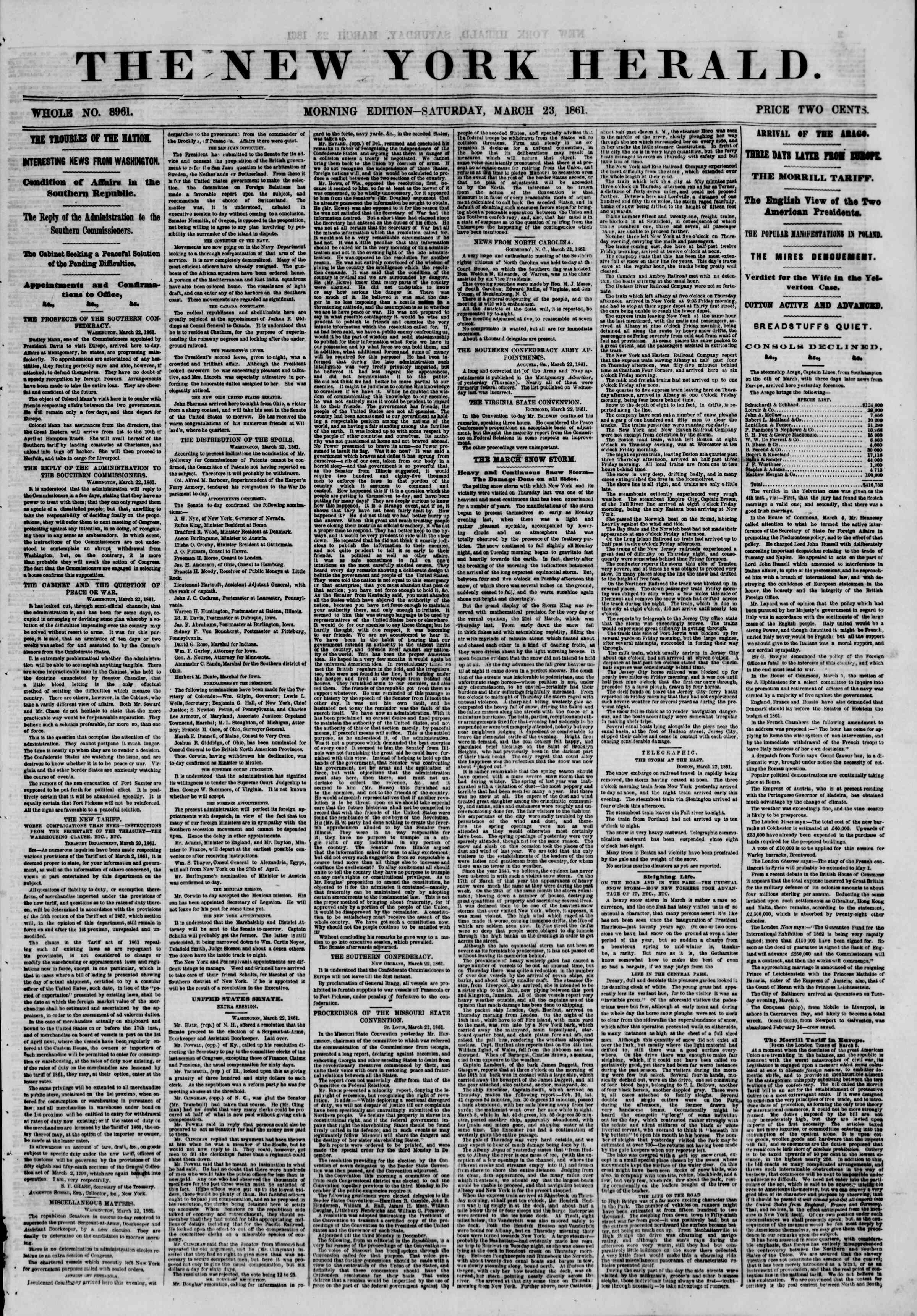 Newspaper of The New York Herald dated March 23, 1861 Page 1