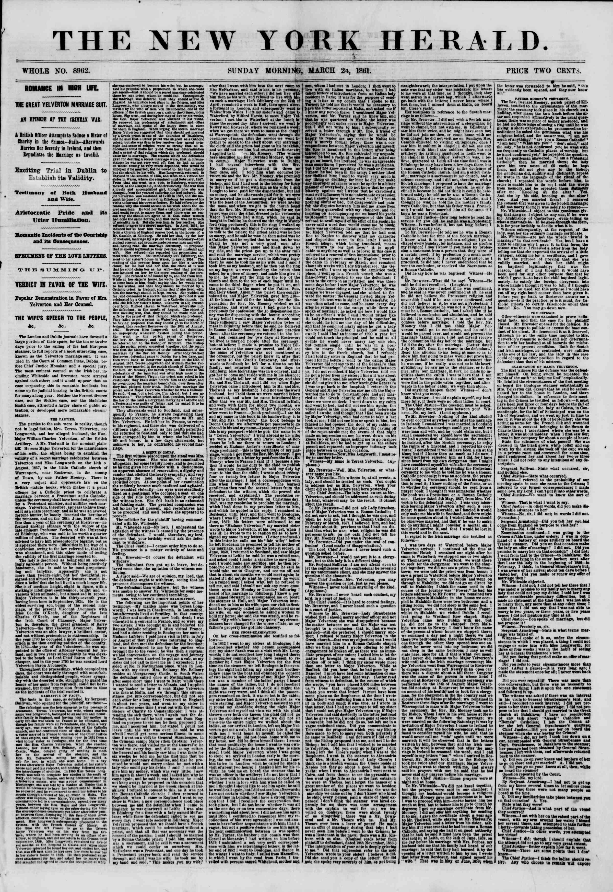 Newspaper of The New York Herald dated March 24, 1861 Page 1