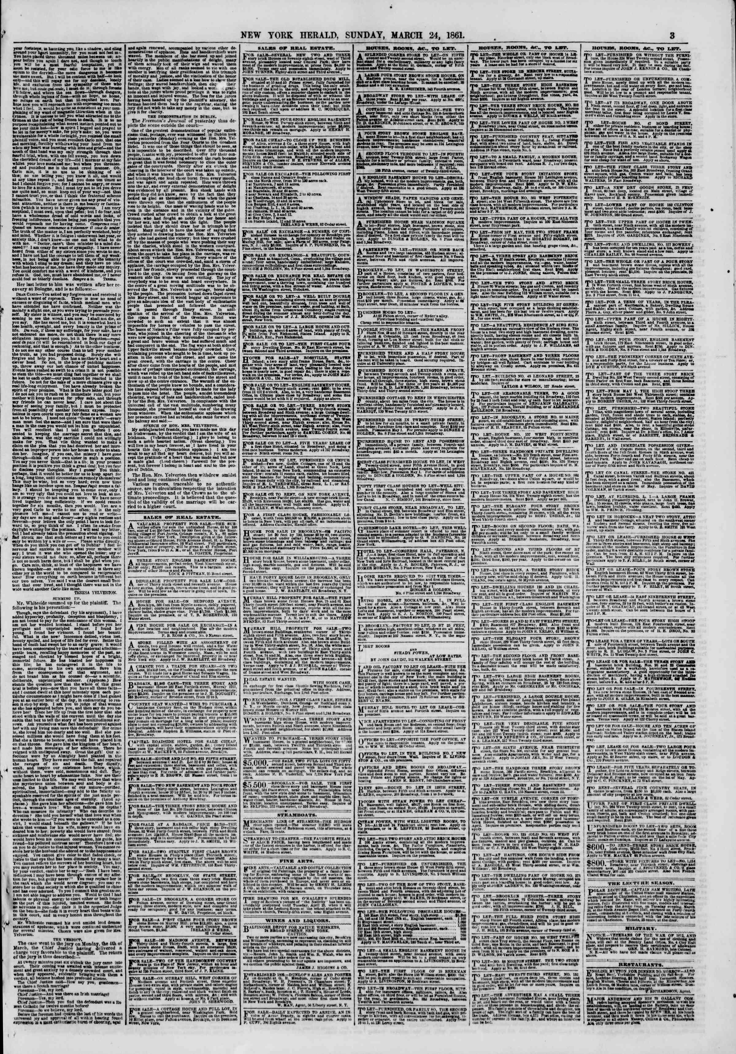 Newspaper of The New York Herald dated 24 Mart 1861 Page 3