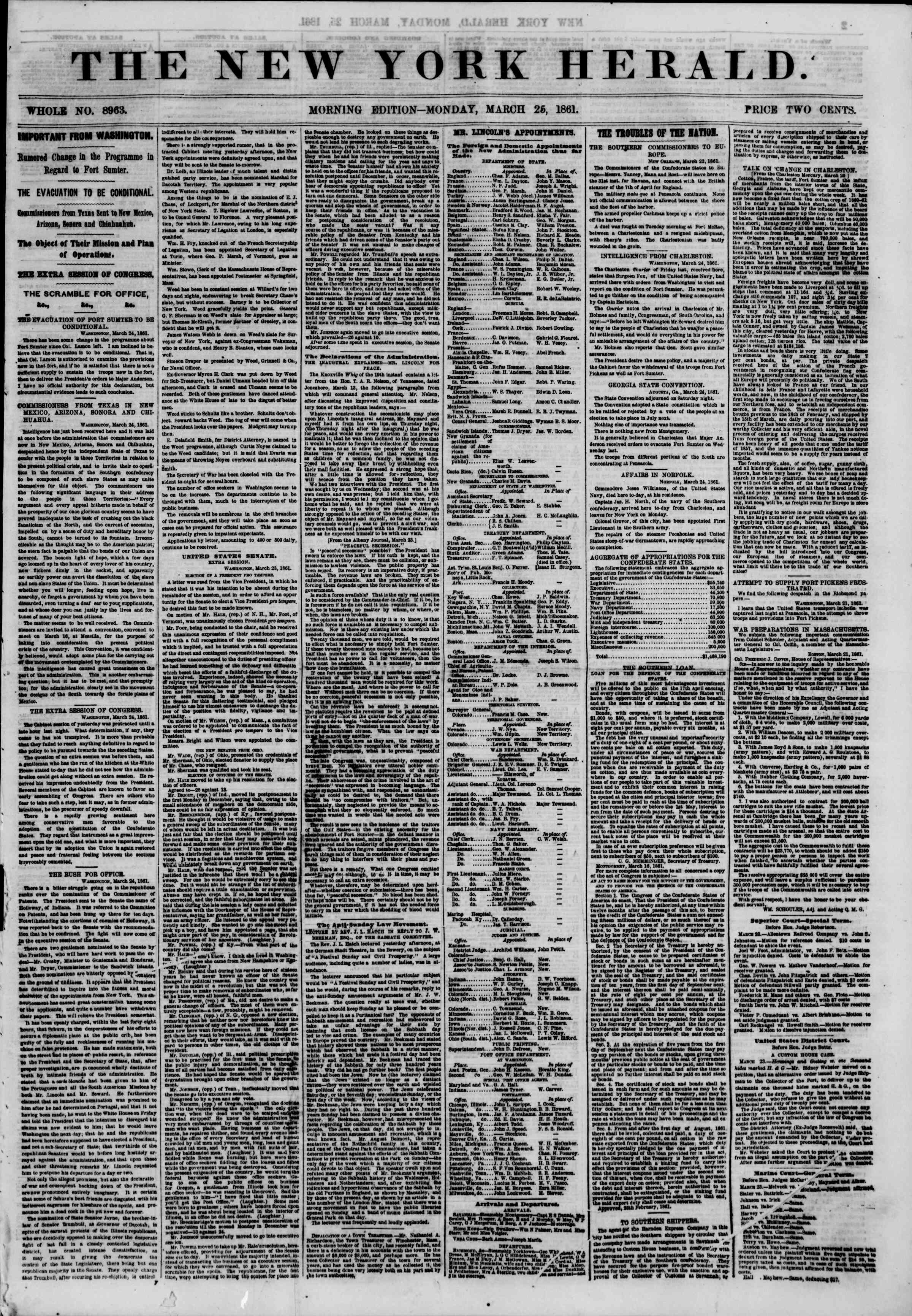 Newspaper of The New York Herald dated March 25, 1861 Page 1