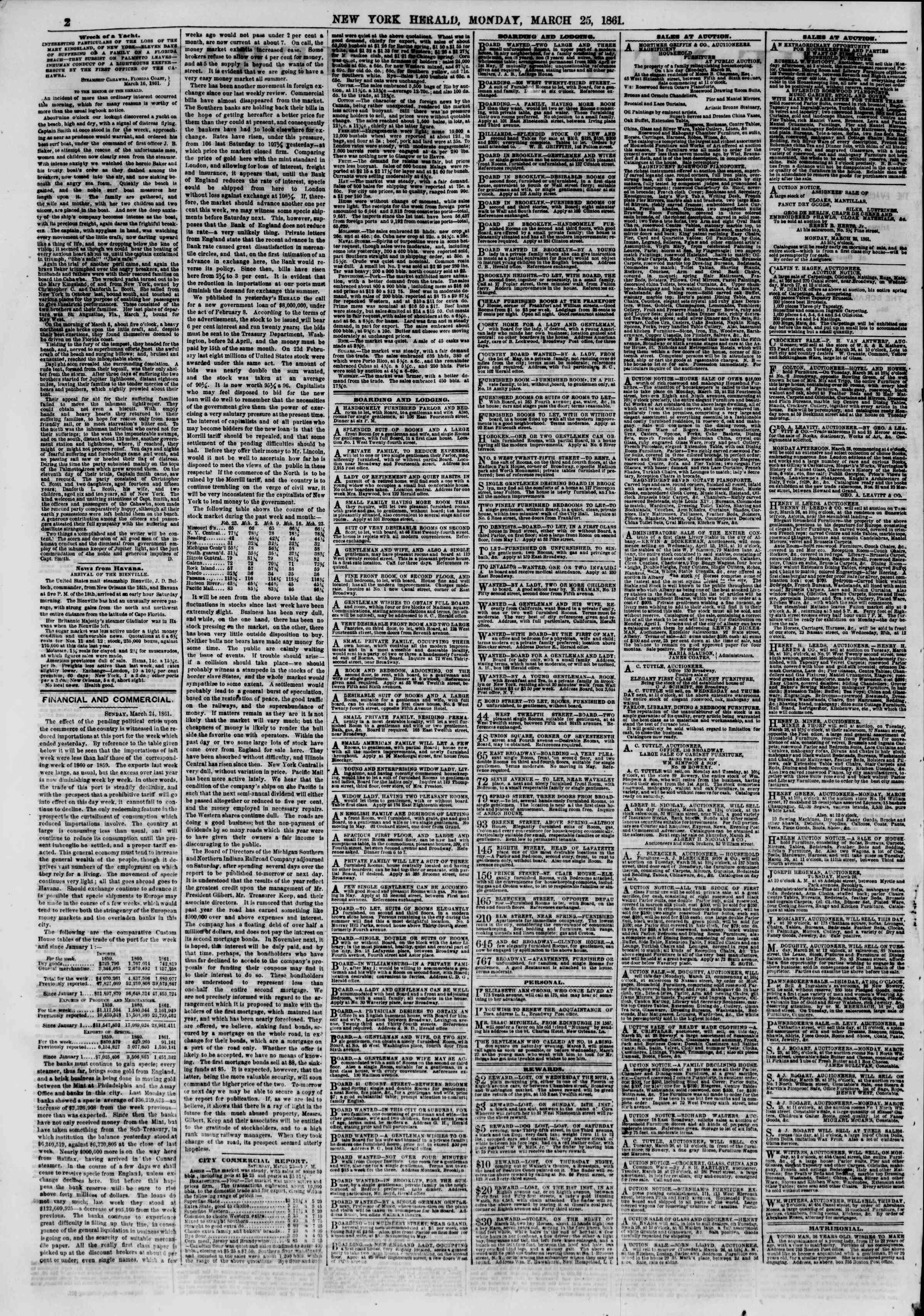 Newspaper of The New York Herald dated March 25, 1861 Page 2