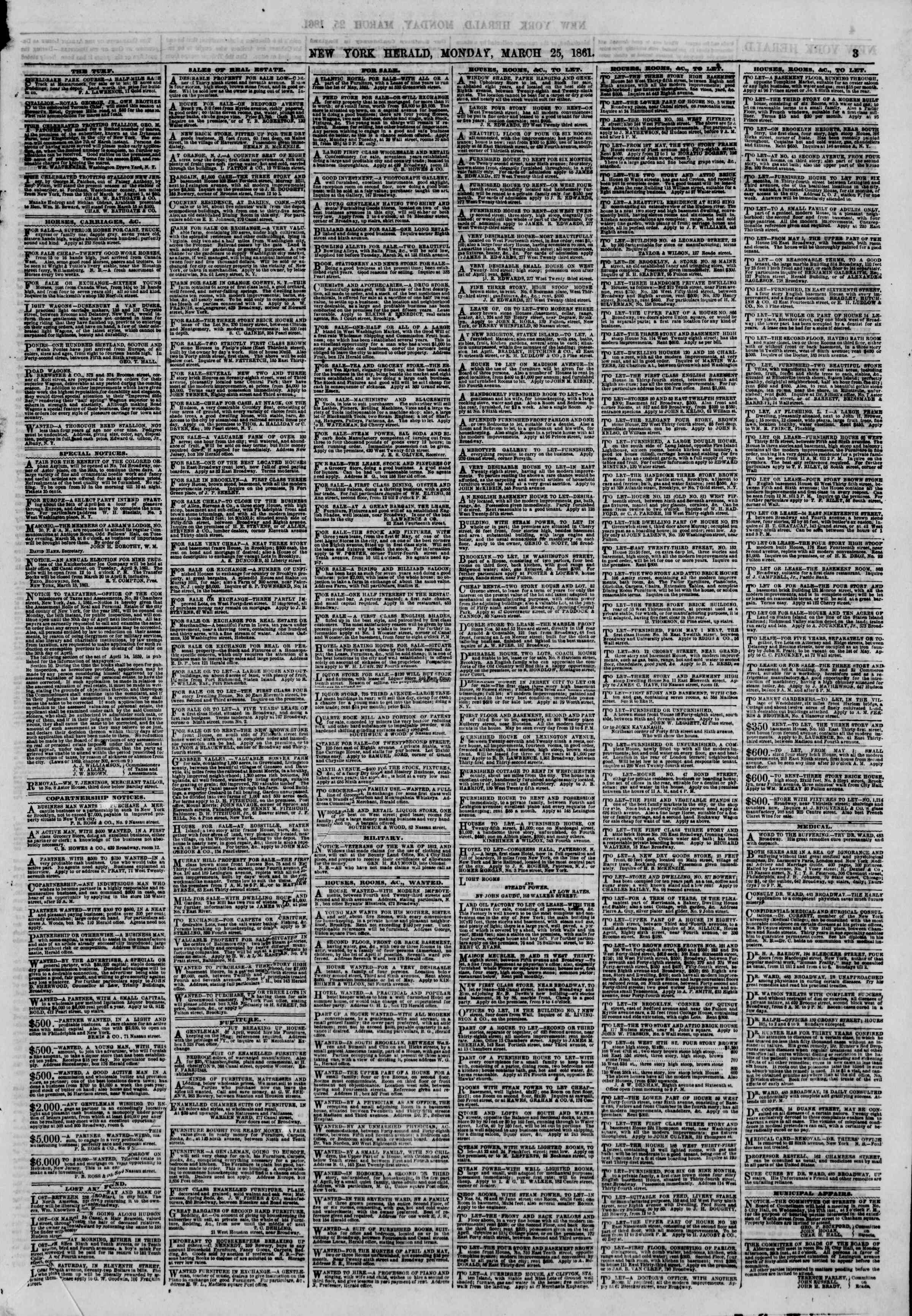 Newspaper of The New York Herald dated March 25, 1861 Page 3