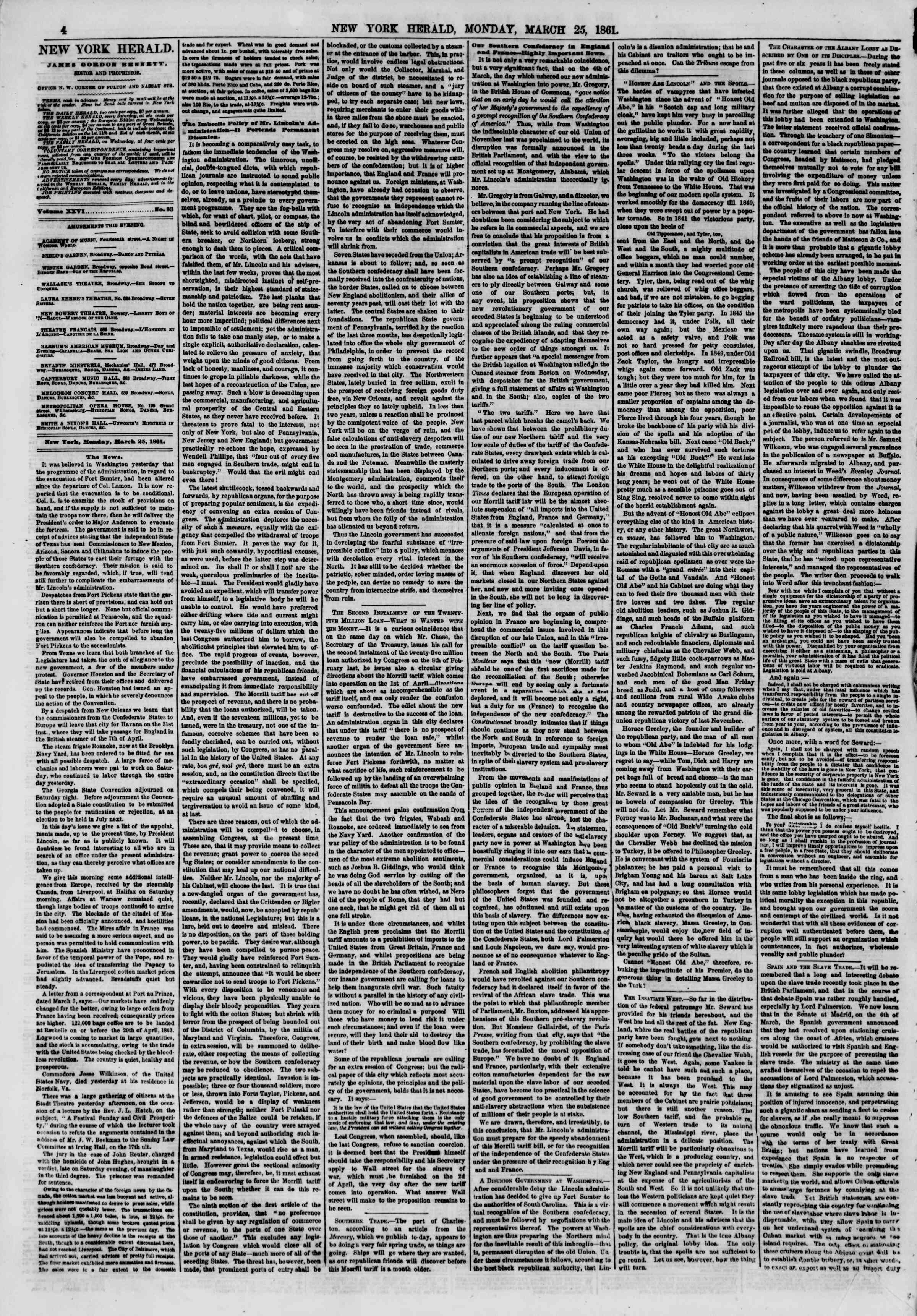 Newspaper of The New York Herald dated March 25, 1861 Page 4