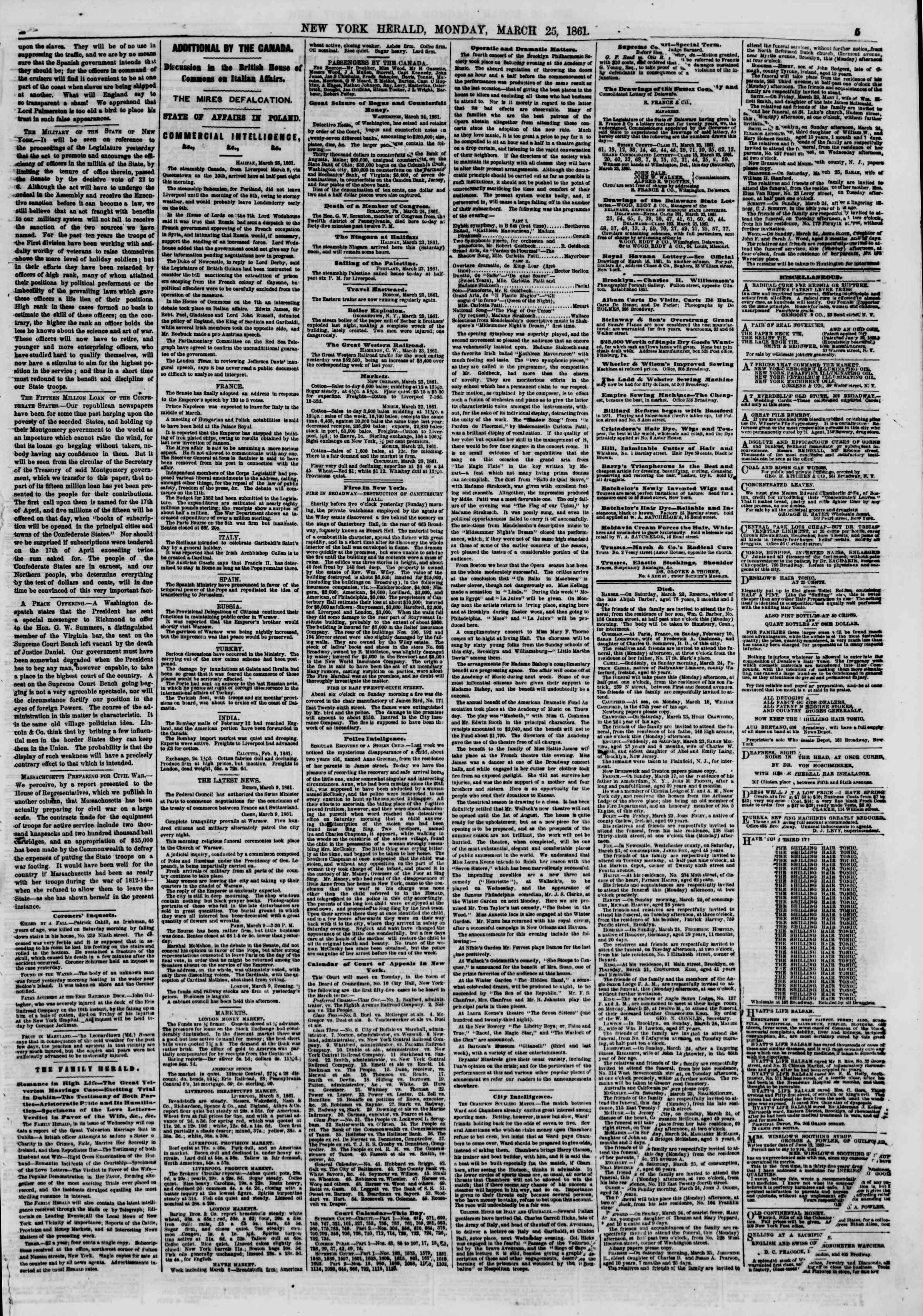 Newspaper of The New York Herald dated March 25, 1861 Page 5