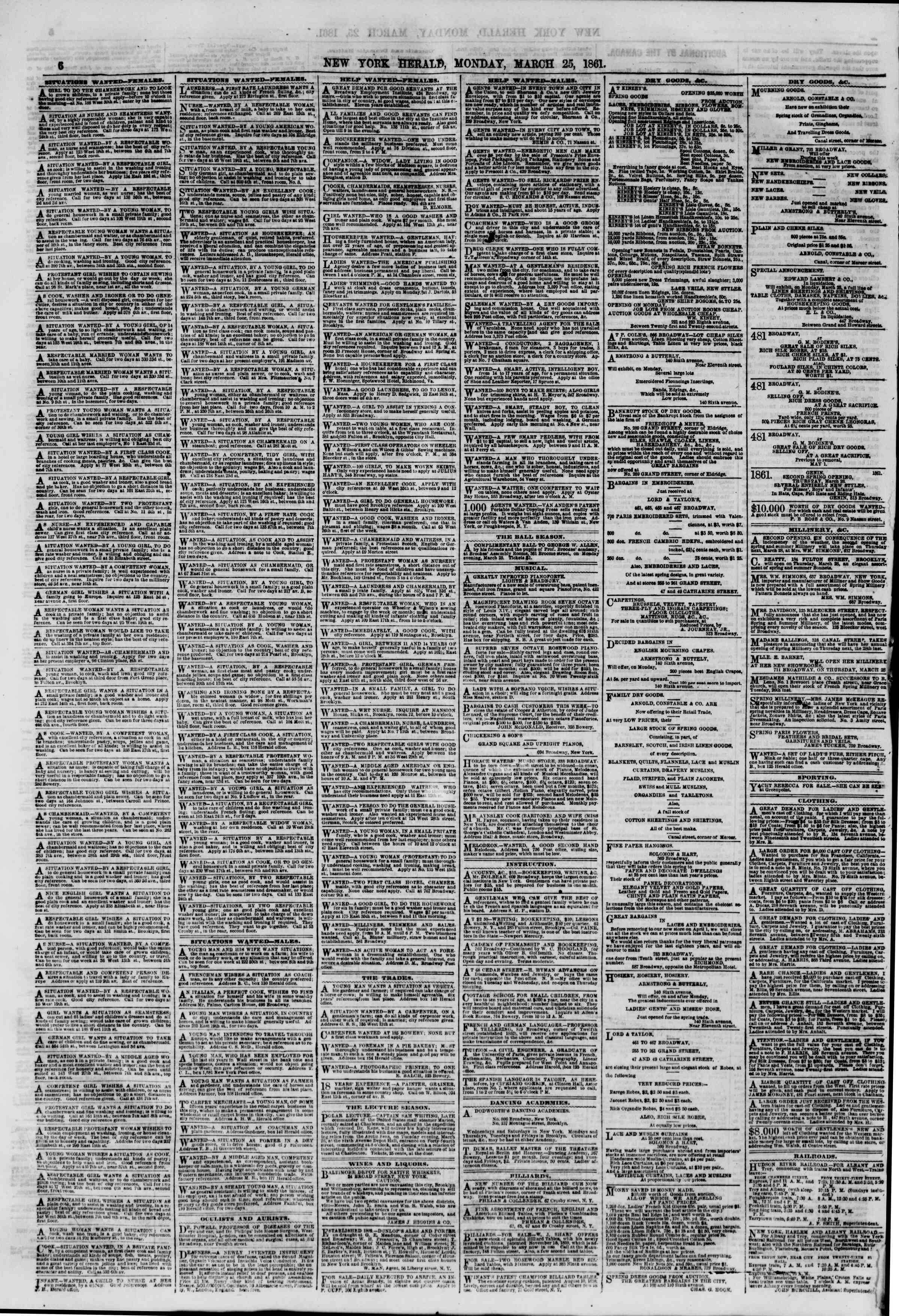 Newspaper of The New York Herald dated March 25, 1861 Page 6