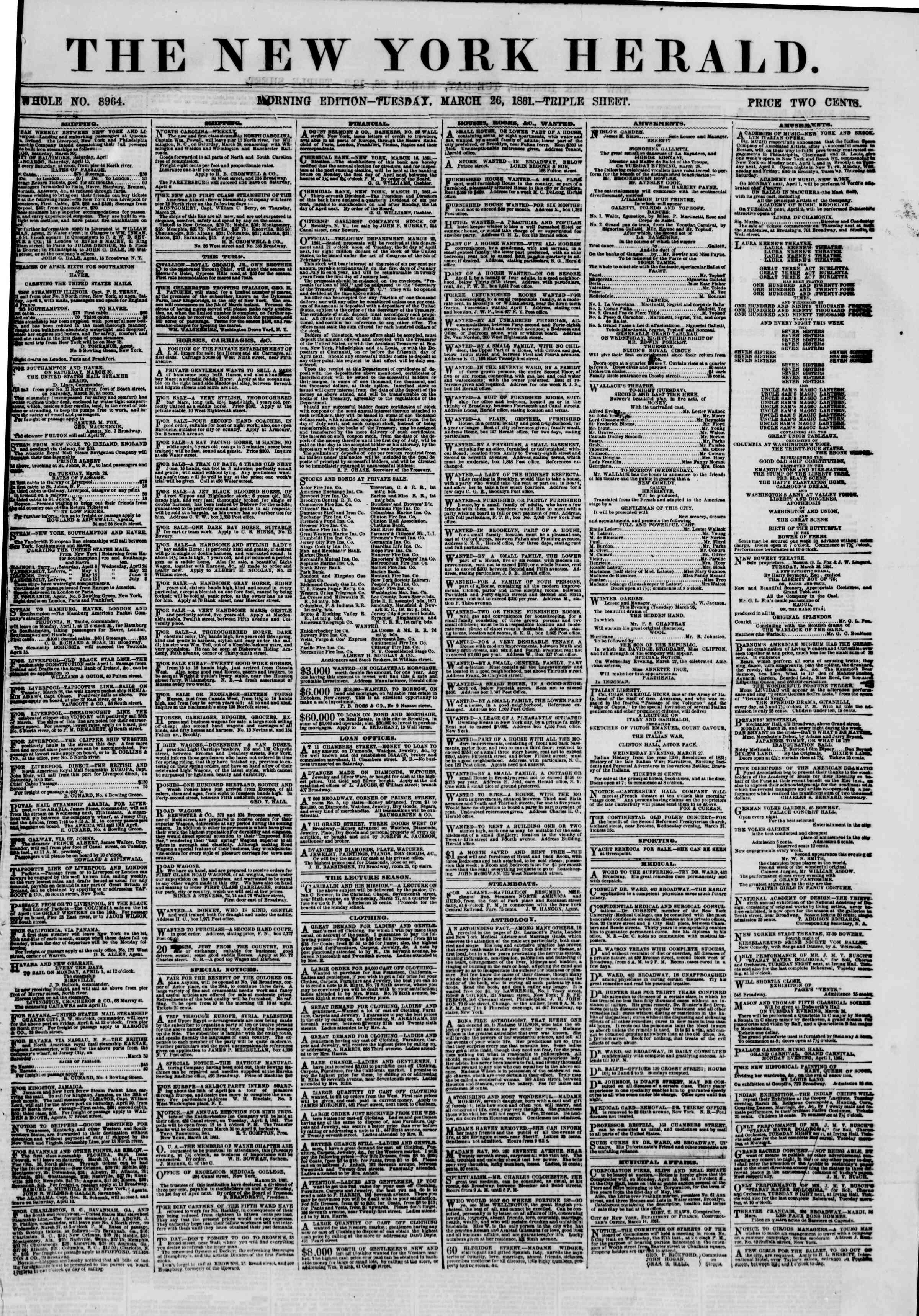 Newspaper of The New York Herald dated March 26, 1861 Page 1