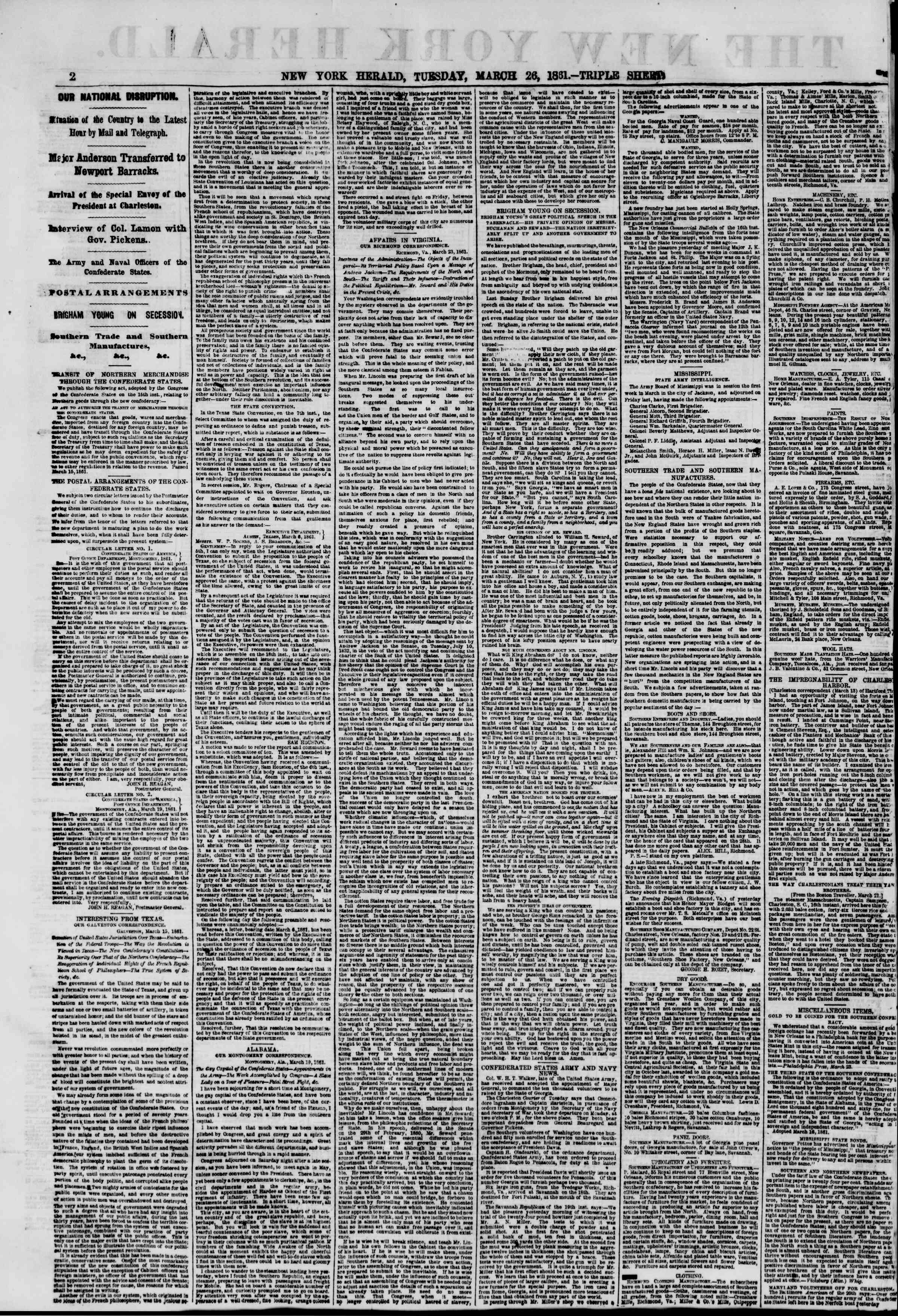 Newspaper of The New York Herald dated March 26, 1861 Page 2