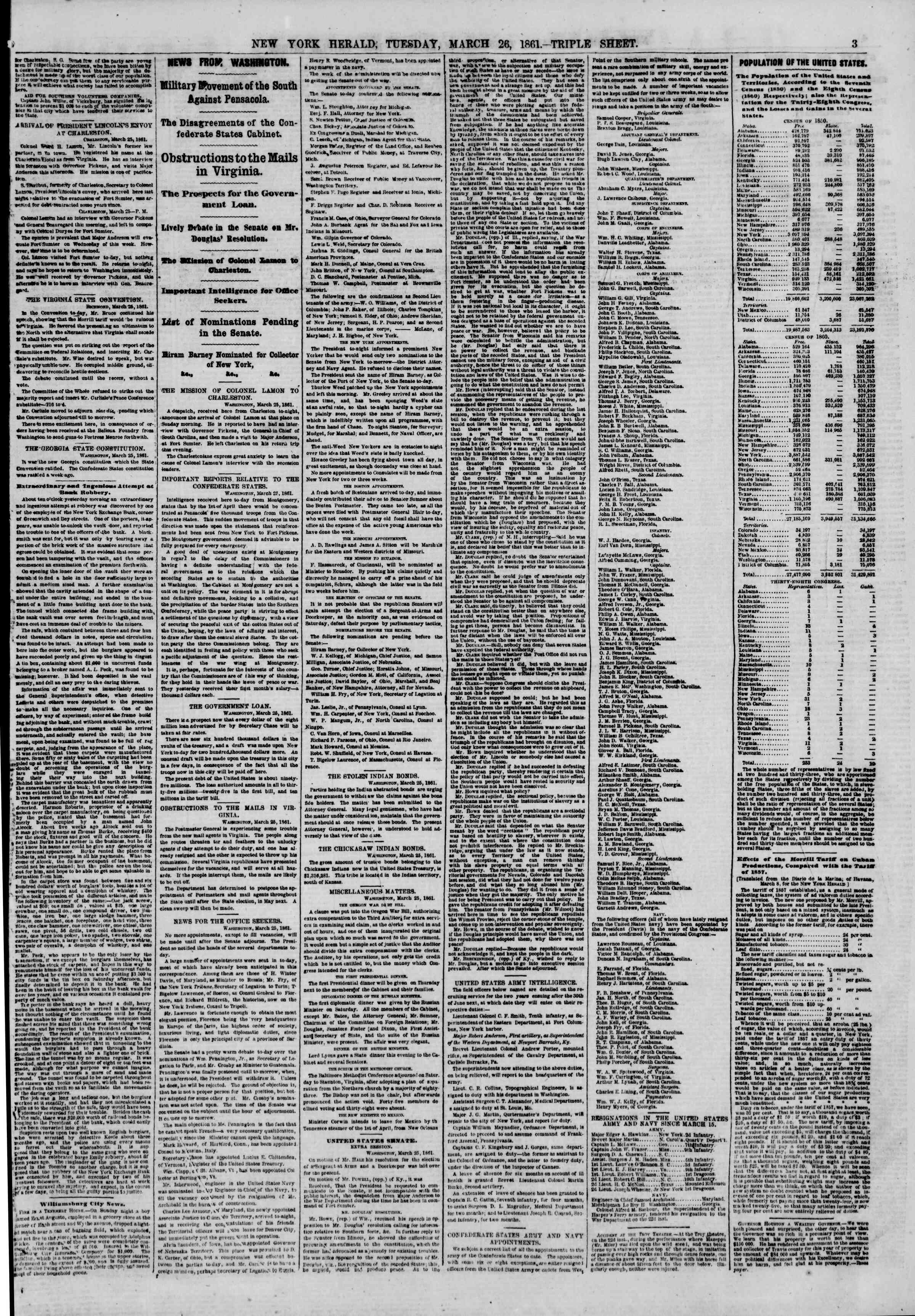 Newspaper of The New York Herald dated March 26, 1861 Page 3