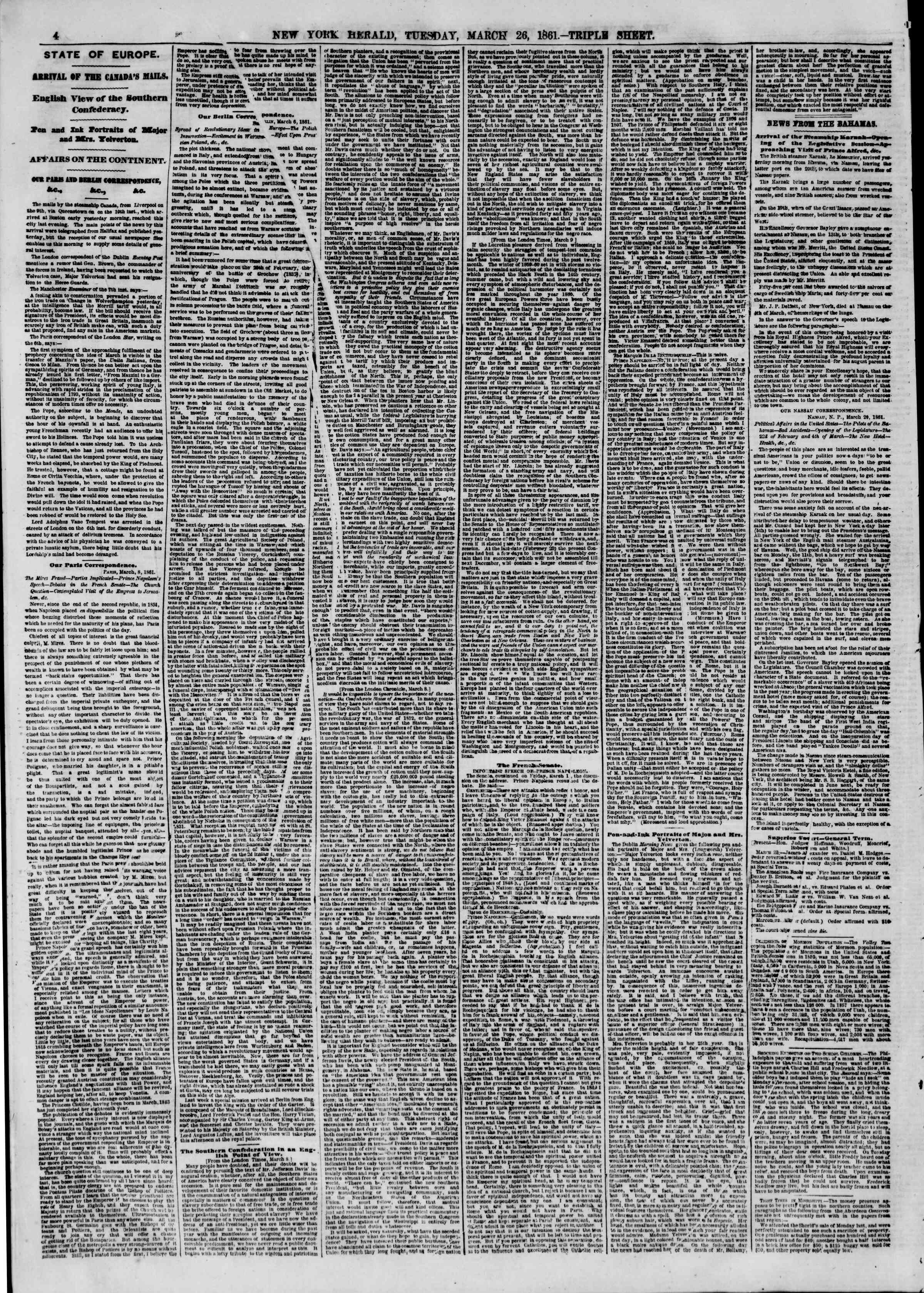 Newspaper of The New York Herald dated March 26, 1861 Page 4