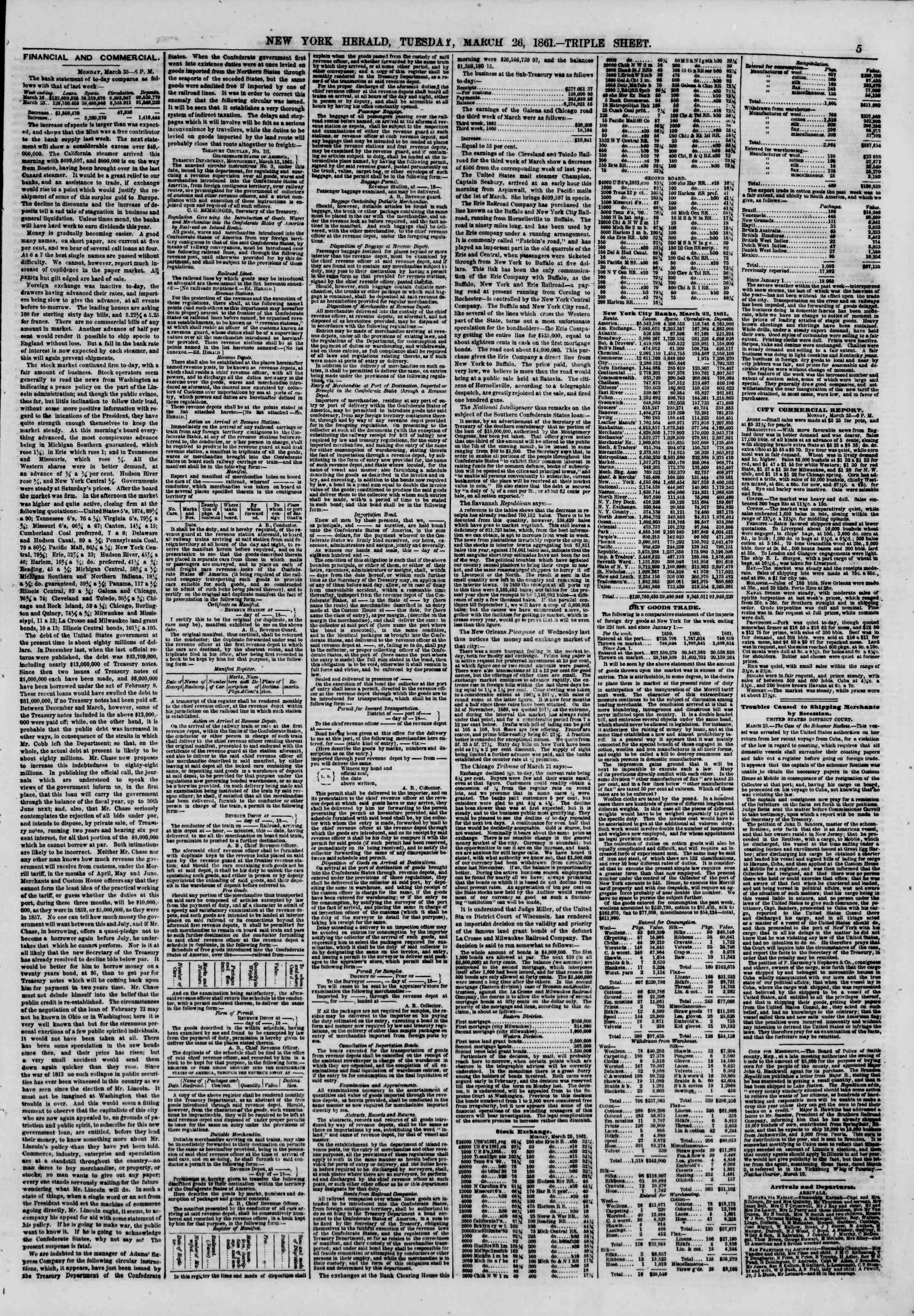 Newspaper of The New York Herald dated 26 Mart 1861 Page 5