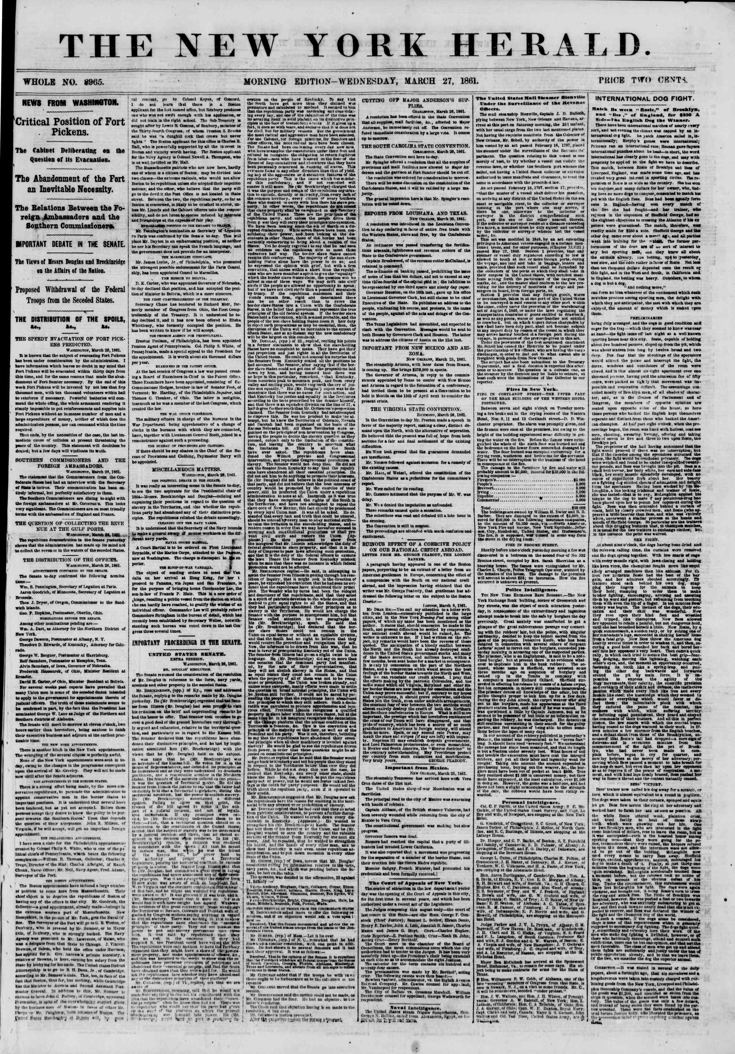 Newspaper of The New York Herald dated March 27, 1861 Page 1