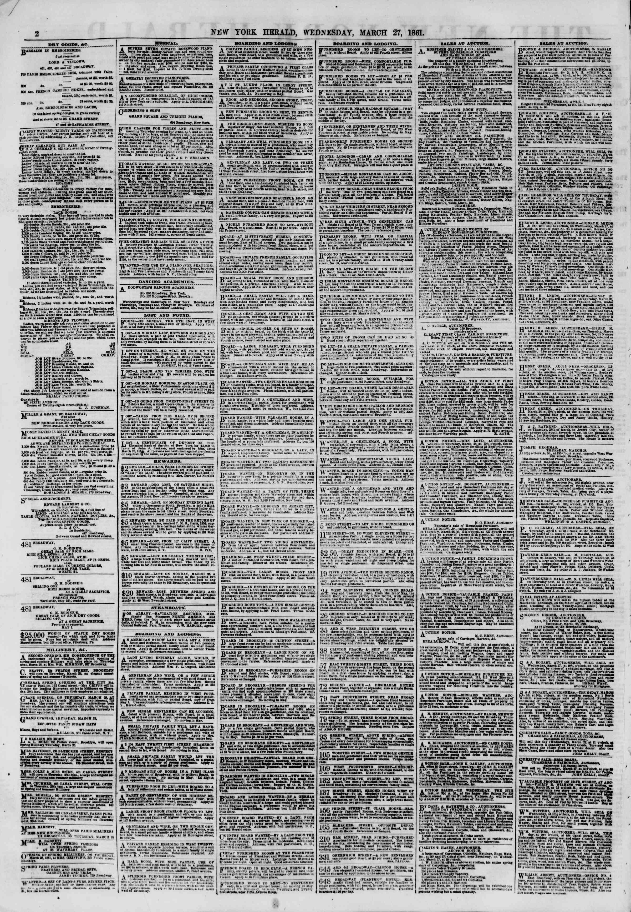 Newspaper of The New York Herald dated March 27, 1861 Page 2