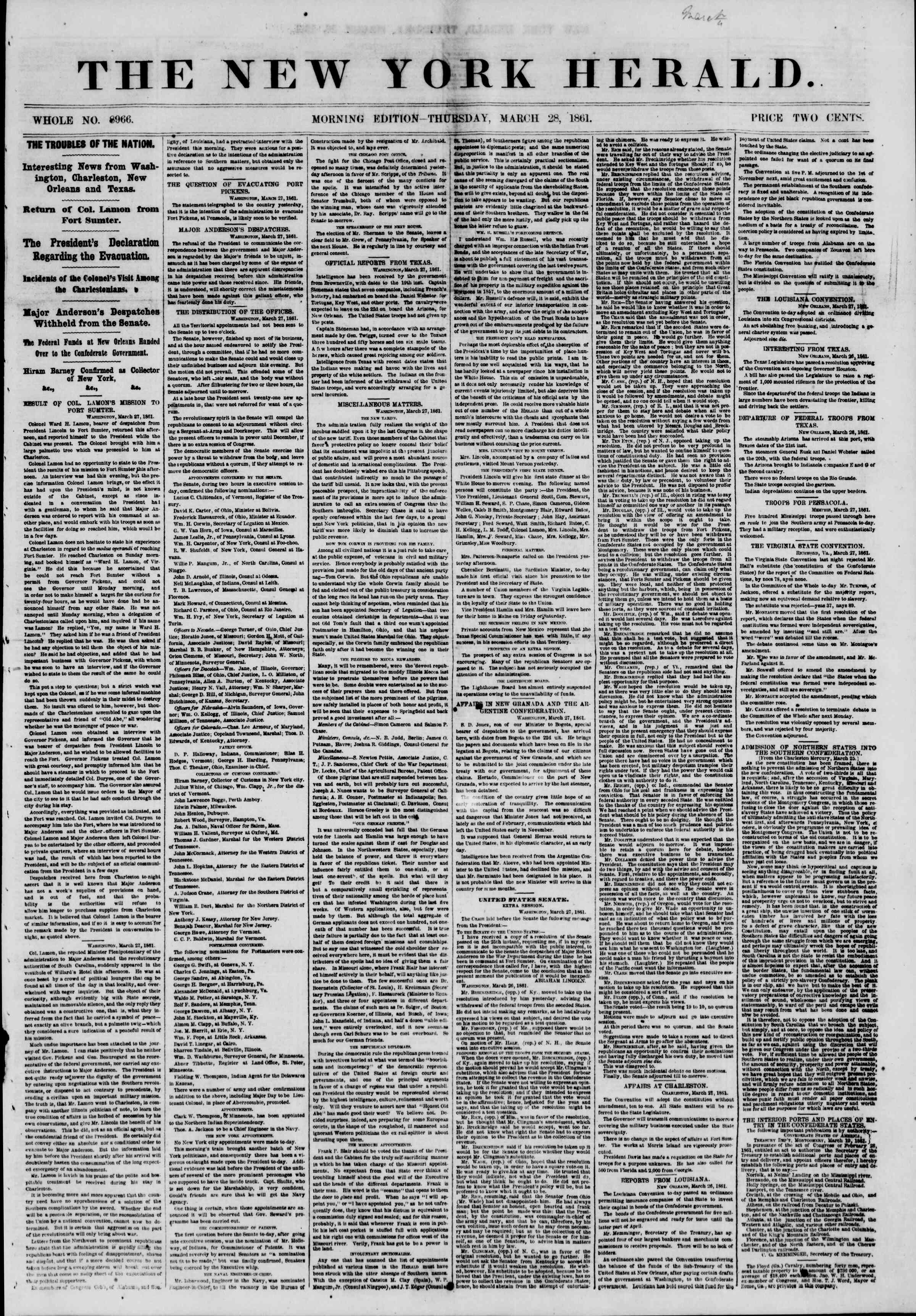 Newspaper of The New York Herald dated March 28, 1861 Page 1