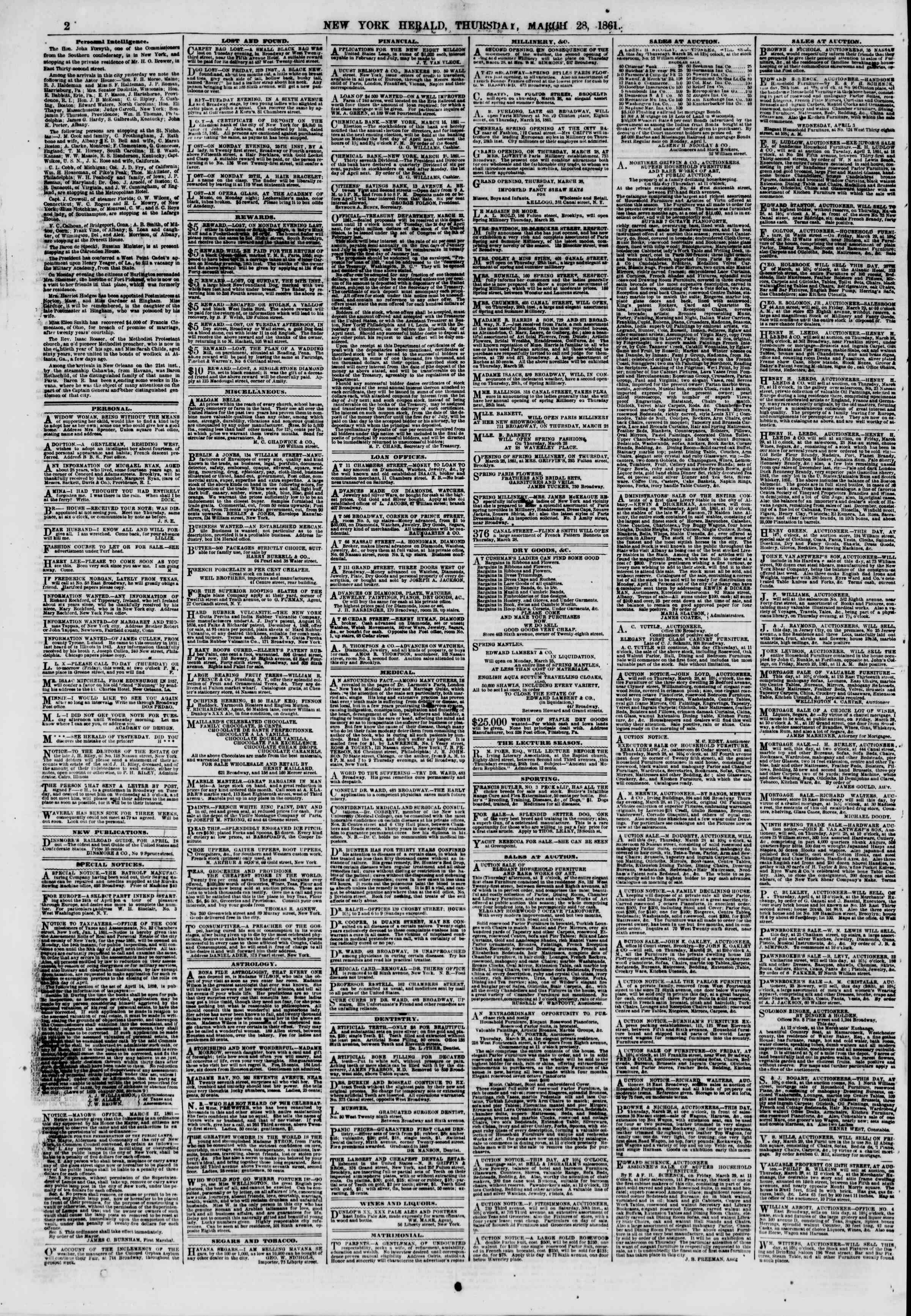 Newspaper of The New York Herald dated March 28, 1861 Page 2