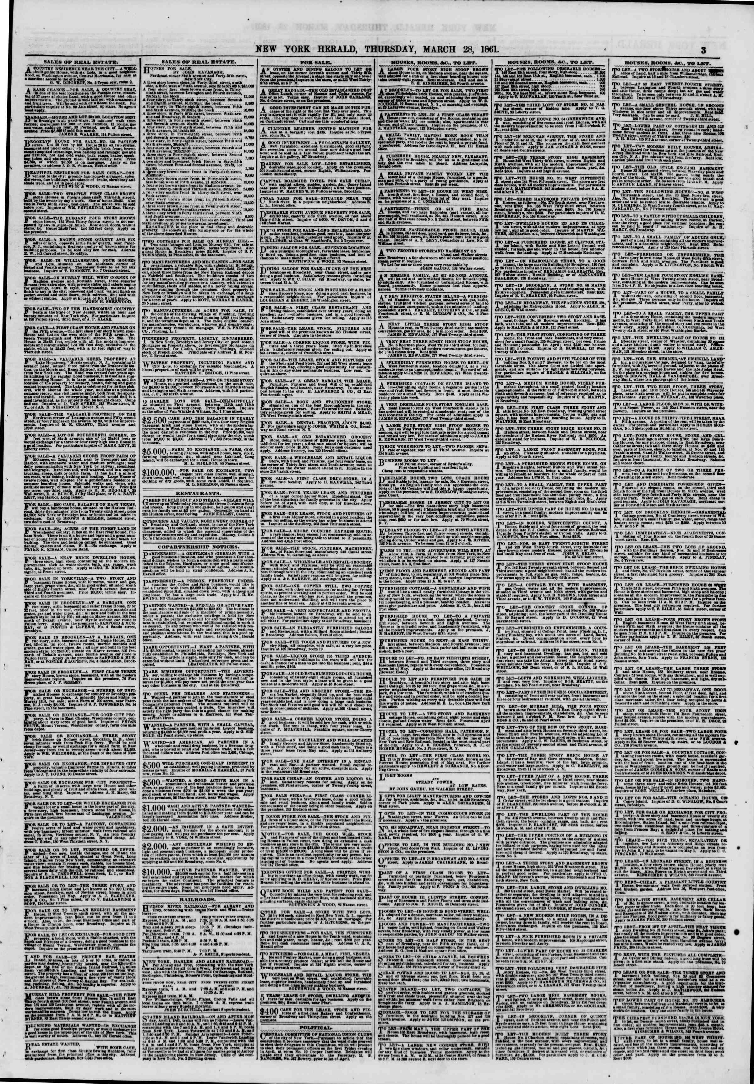 Newspaper of The New York Herald dated March 28, 1861 Page 3