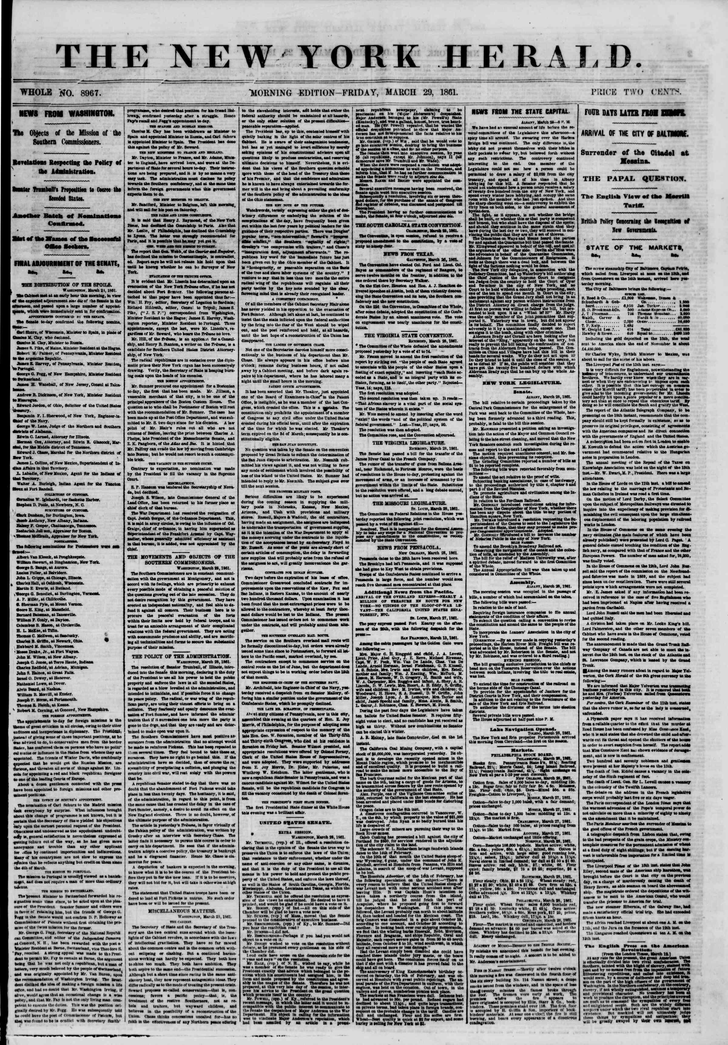 Newspaper of The New York Herald dated March 29, 1861 Page 1