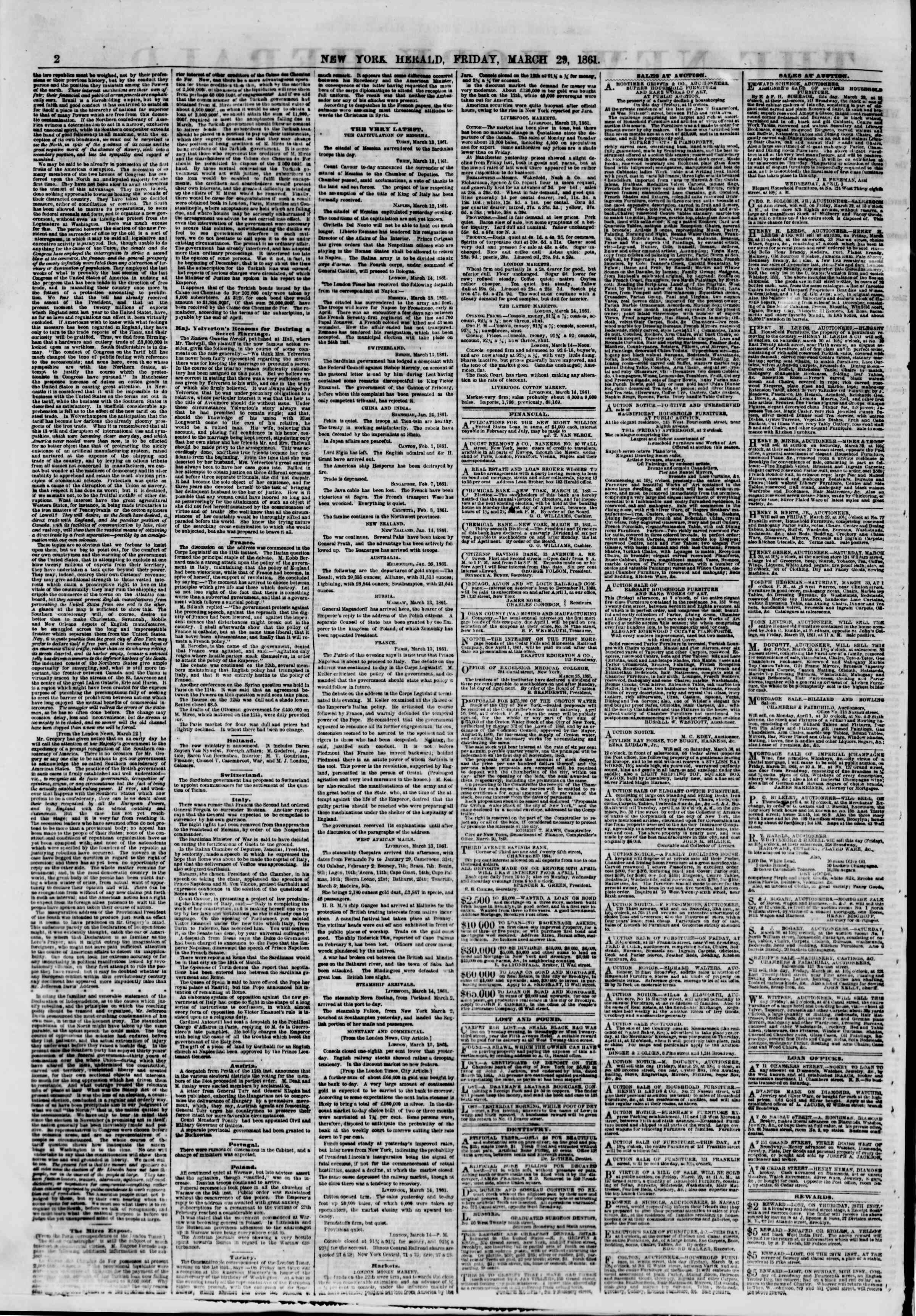 Newspaper of The New York Herald dated March 29, 1861 Page 2