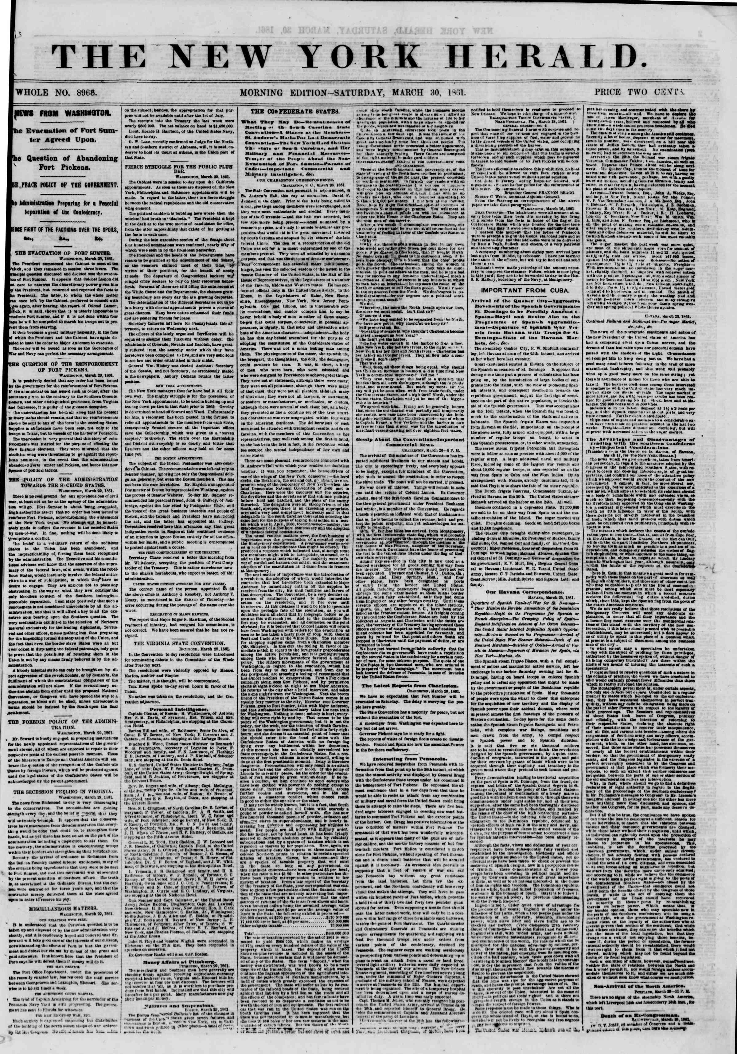 Newspaper of The New York Herald dated March 30, 1861 Page 1