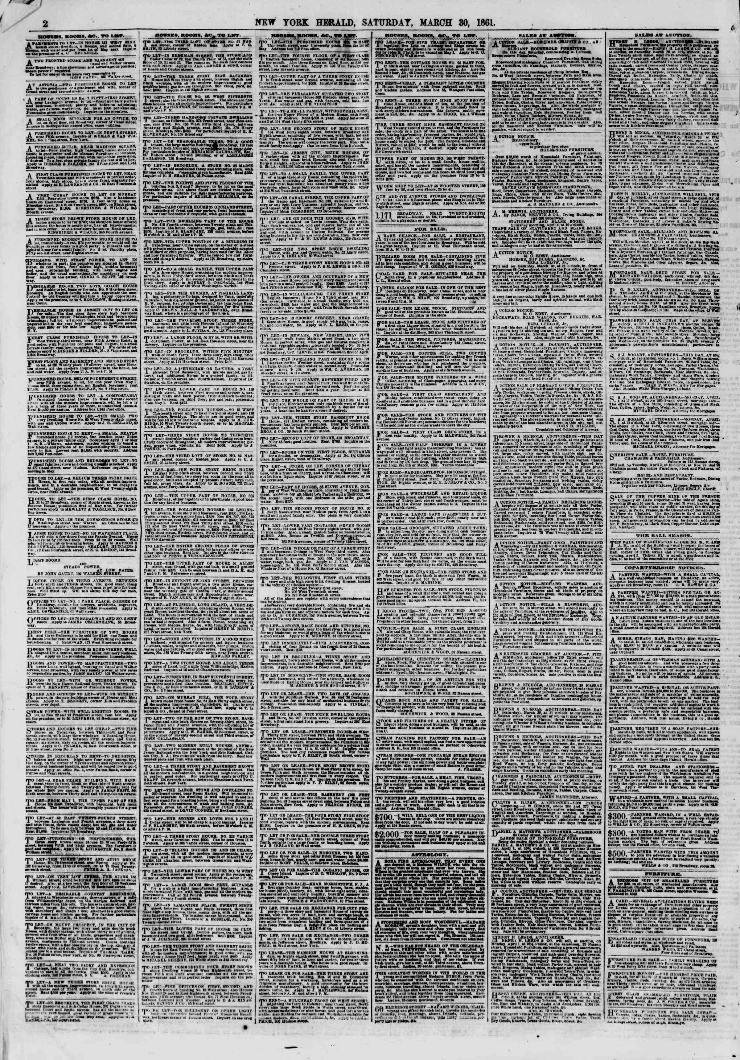 30 Mart 1861 tarihli The New York Herald Gazetesi Sayfa 2