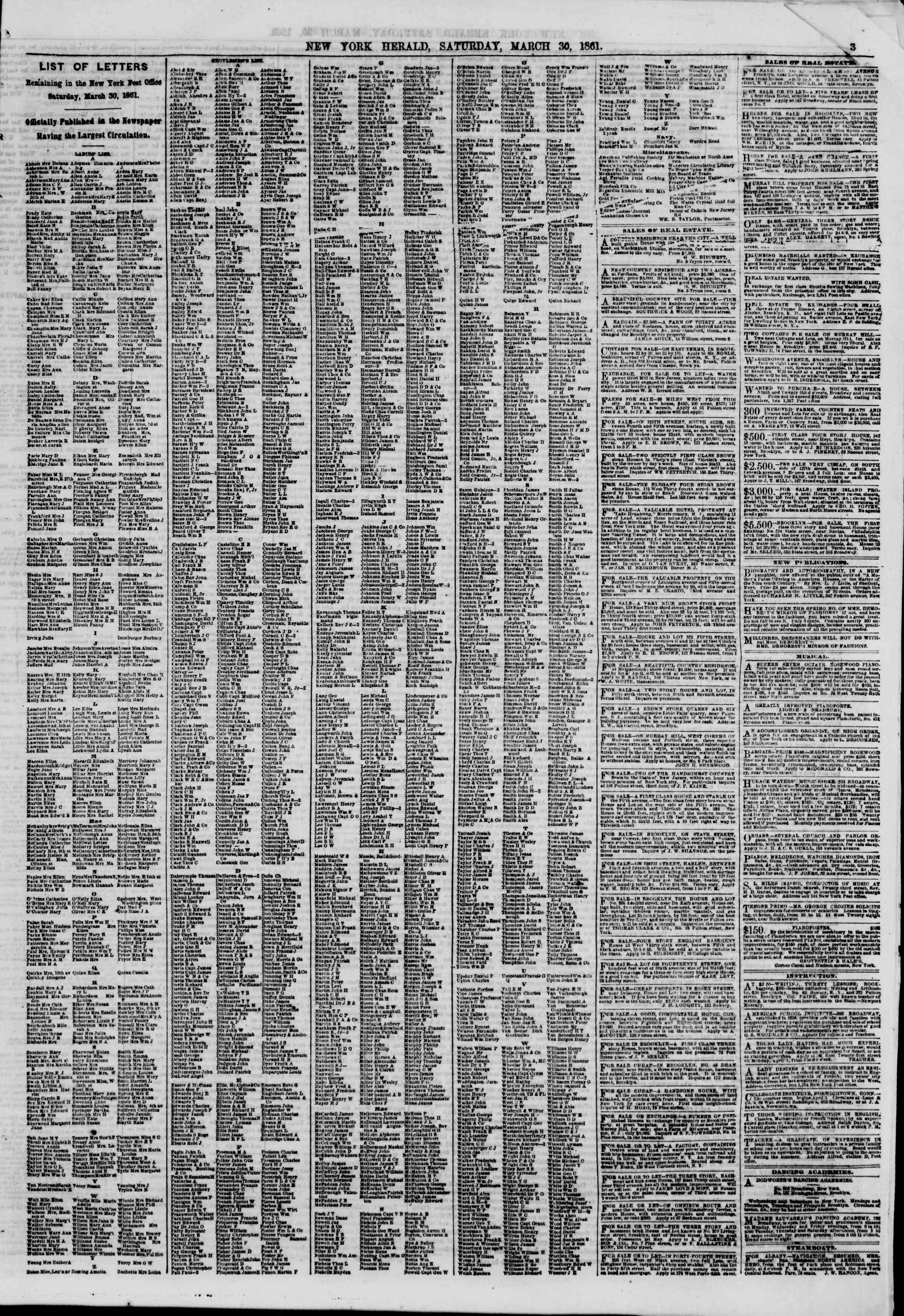 Newspaper of The New York Herald dated March 30, 1861 Page 3