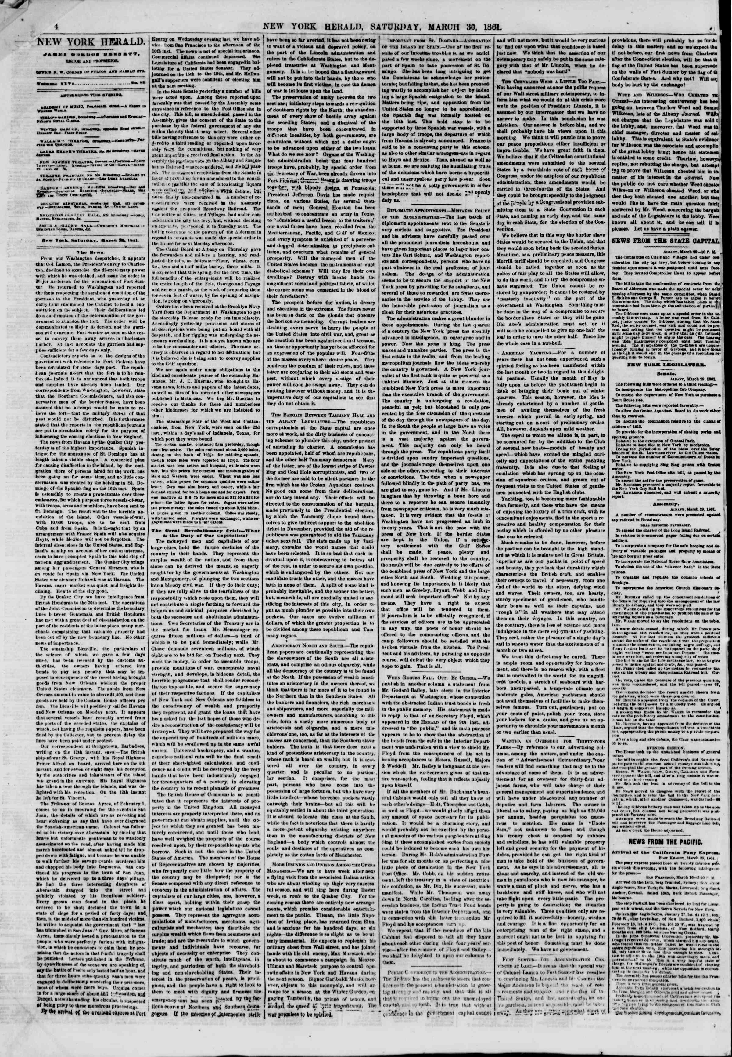 Newspaper of The New York Herald dated March 30, 1861 Page 4