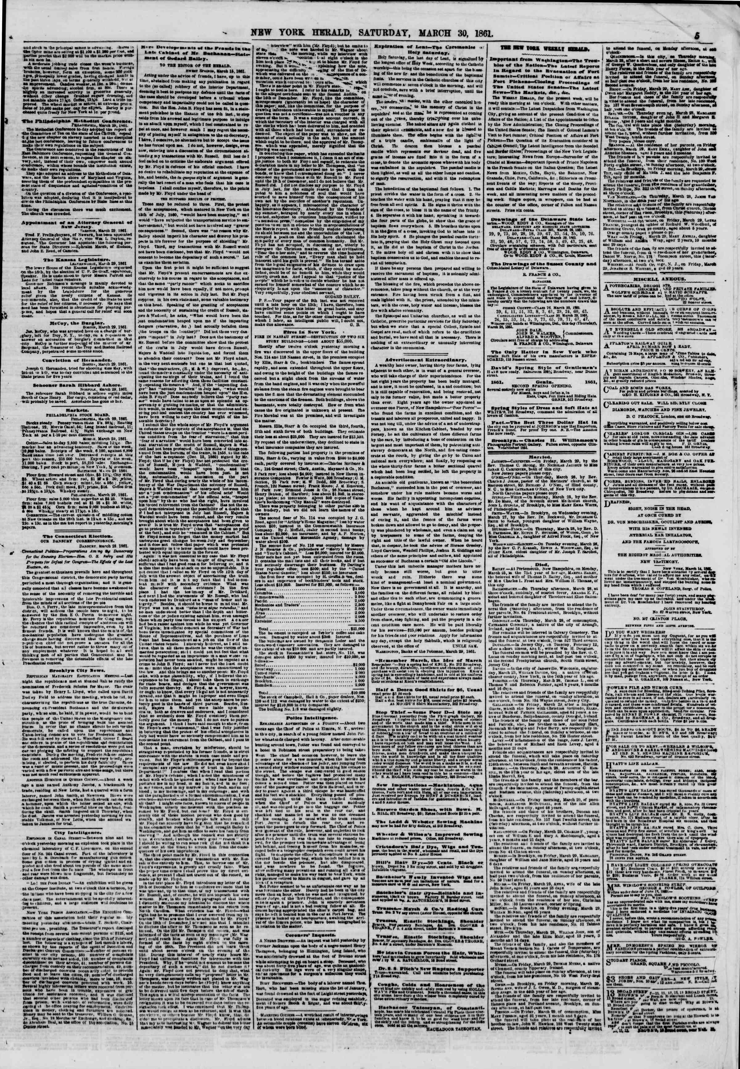 Newspaper of The New York Herald dated March 30, 1861 Page 5