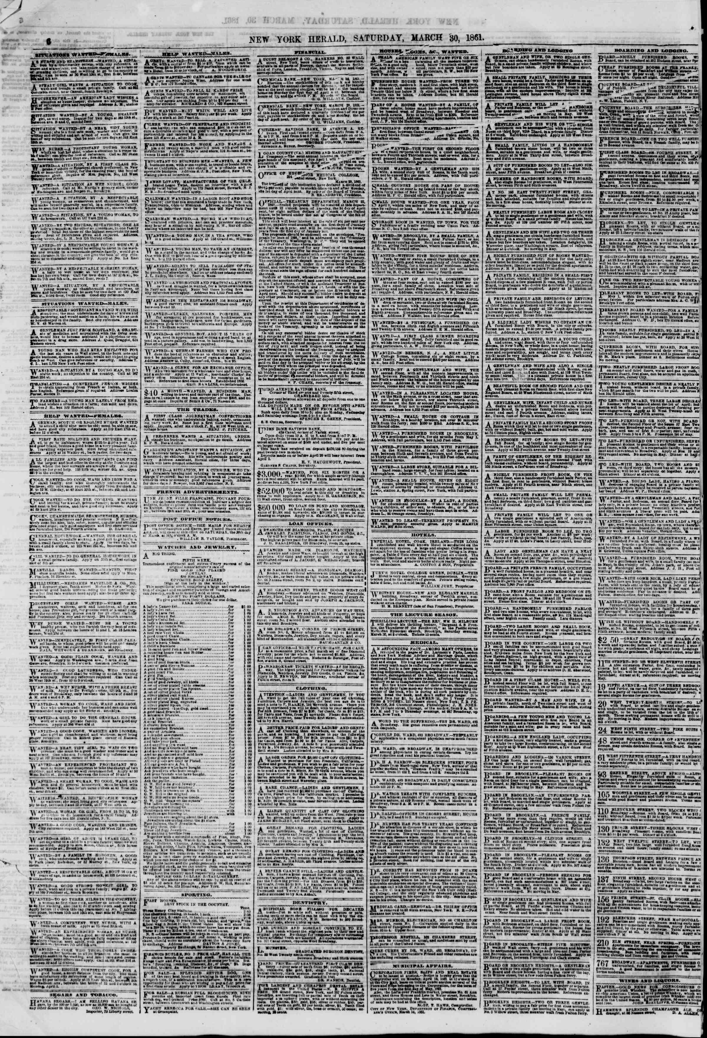 Newspaper of The New York Herald dated March 30, 1861 Page 6