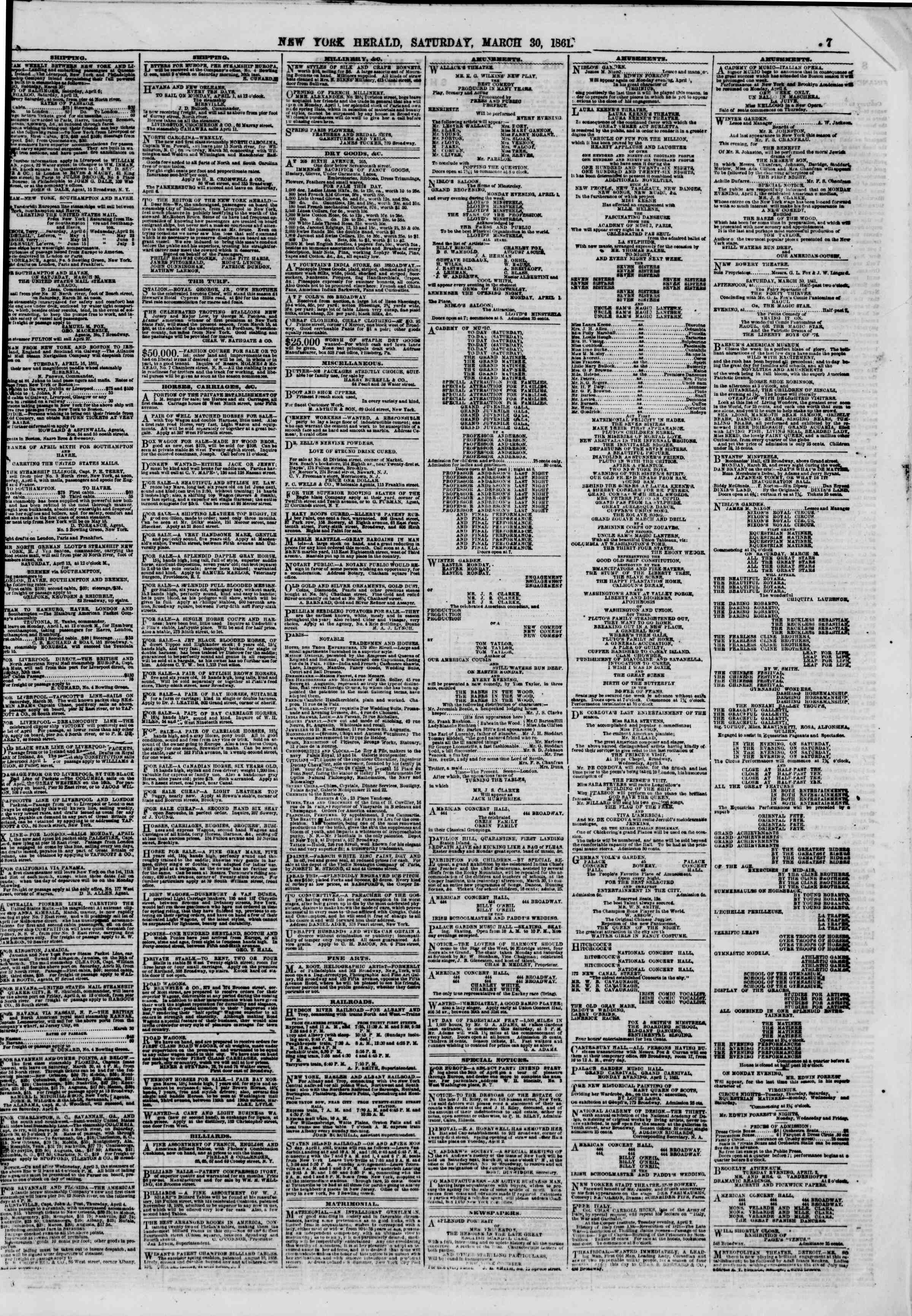 Newspaper of The New York Herald dated March 30, 1861 Page 7