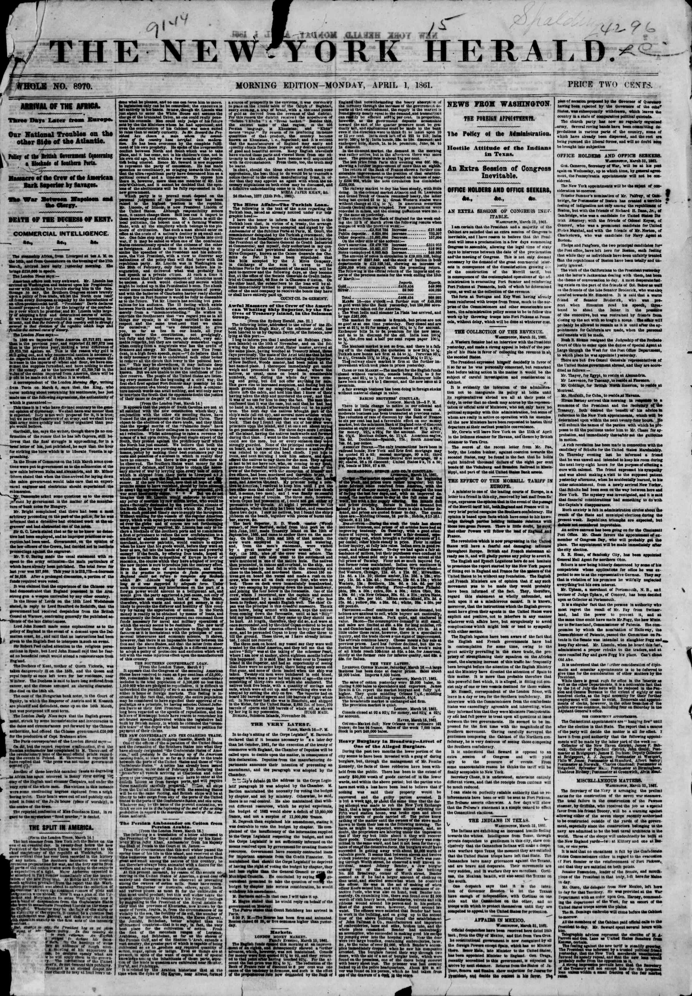 Newspaper of The New York Herald dated April 1, 1861 Page 1