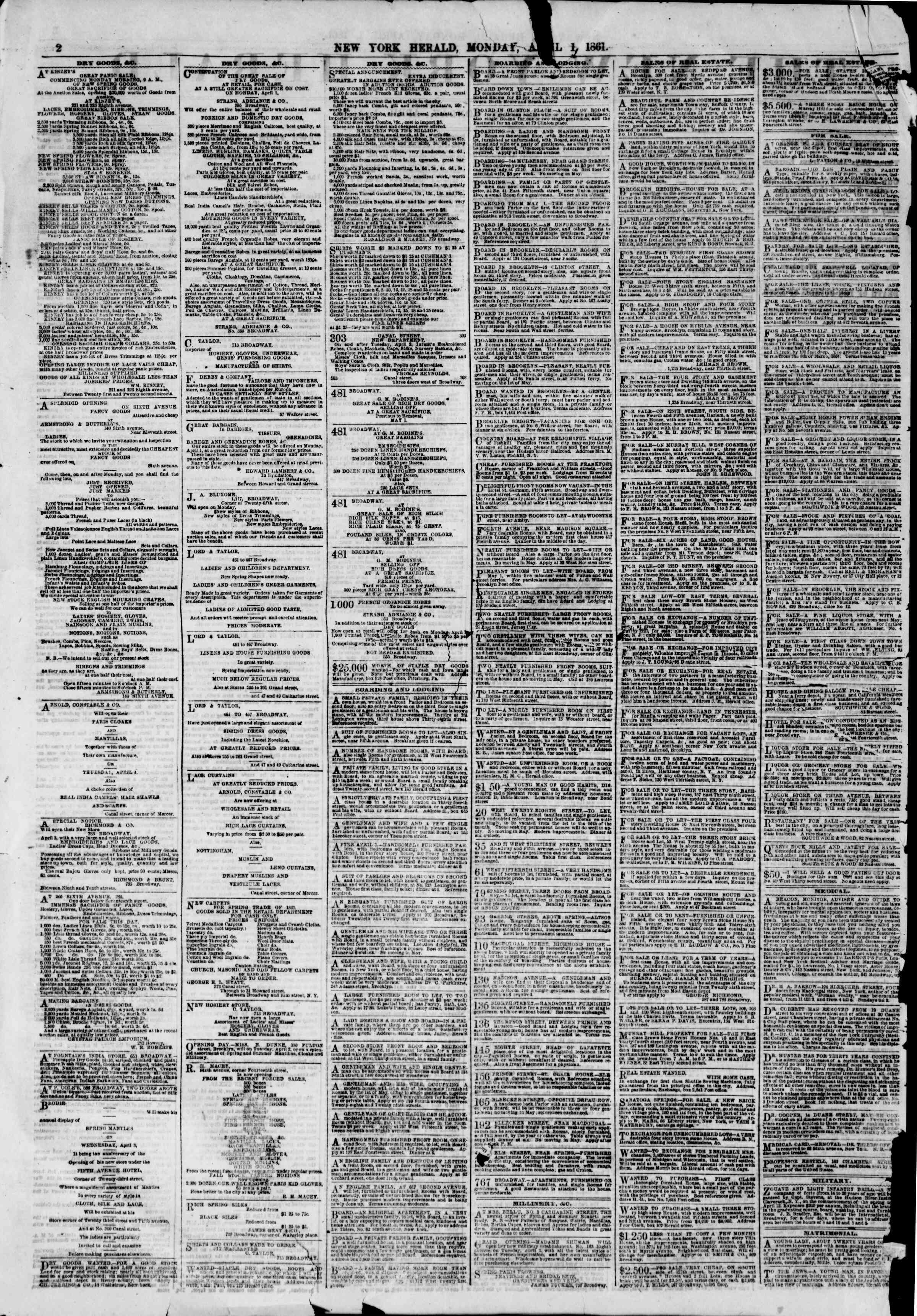 Newspaper of The New York Herald dated April 1, 1861 Page 2