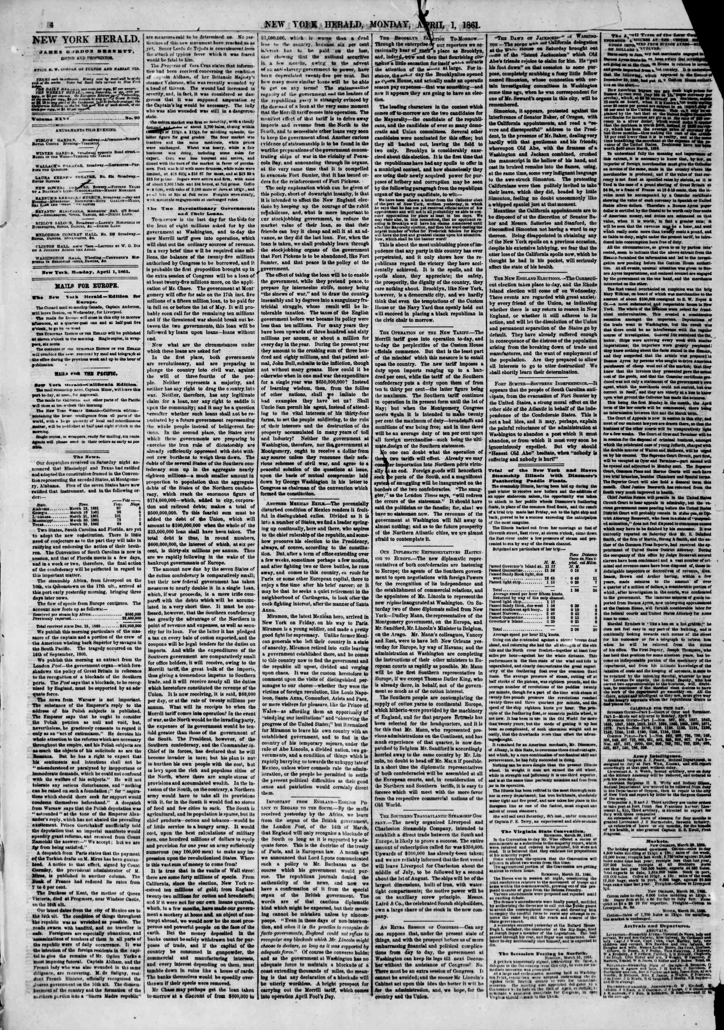 Newspaper of The New York Herald dated April 1, 1861 Page 4