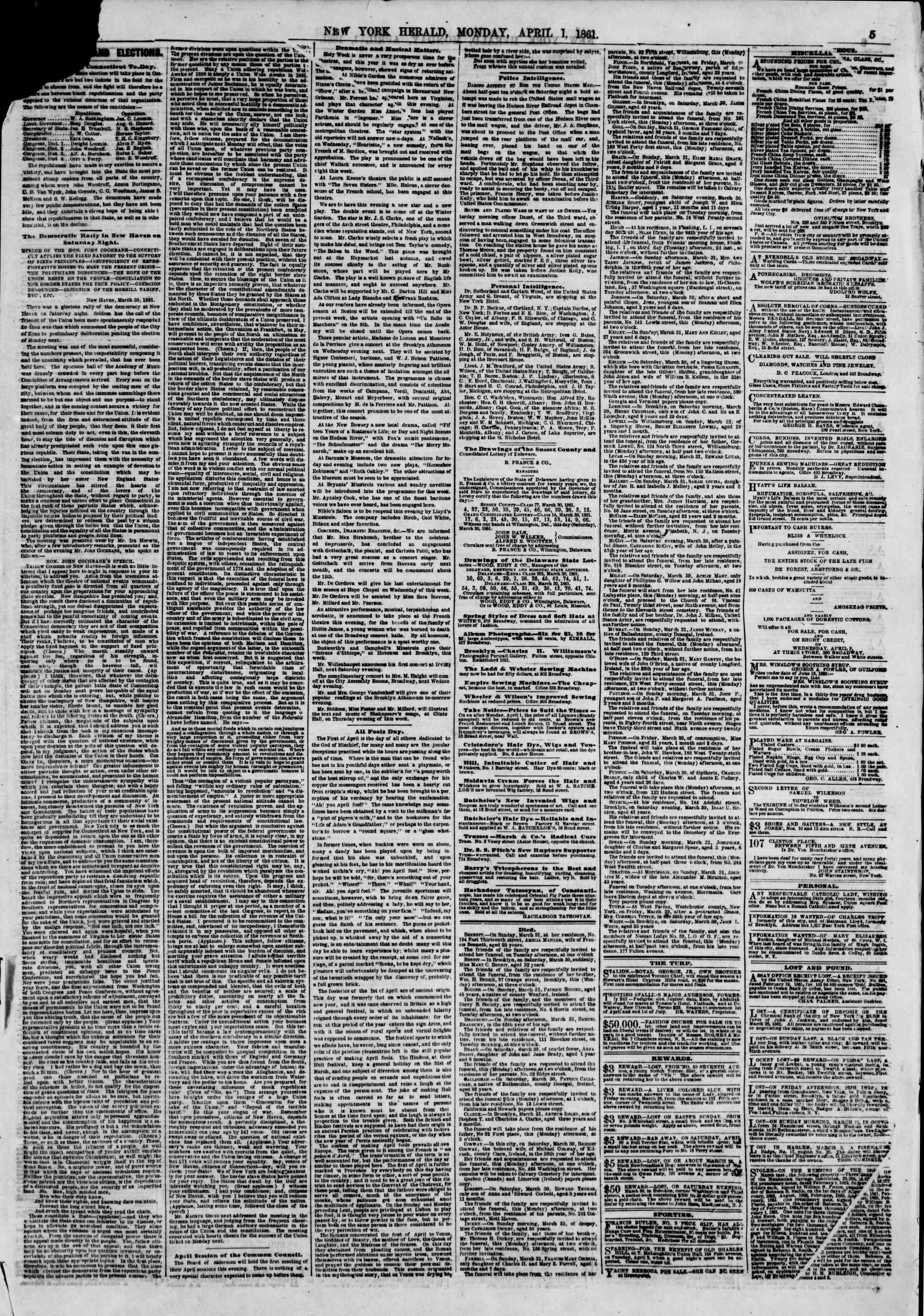 Newspaper of The New York Herald dated 1 Nisan 1861 Page 5