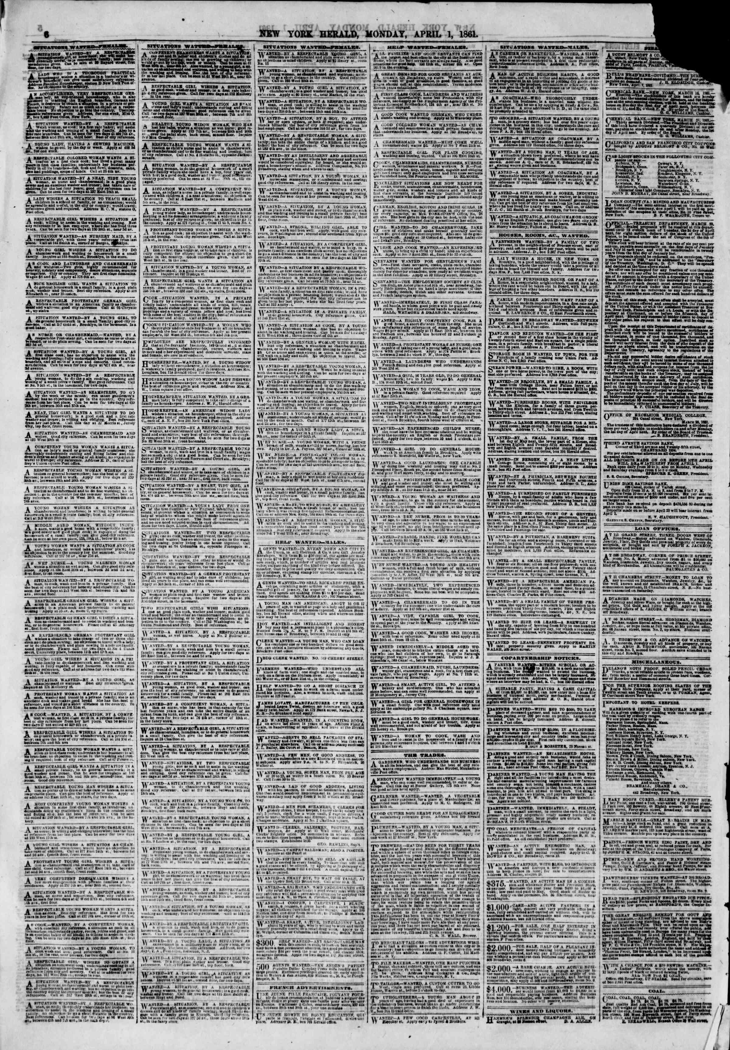 Newspaper of The New York Herald dated April 1, 1861 Page 6