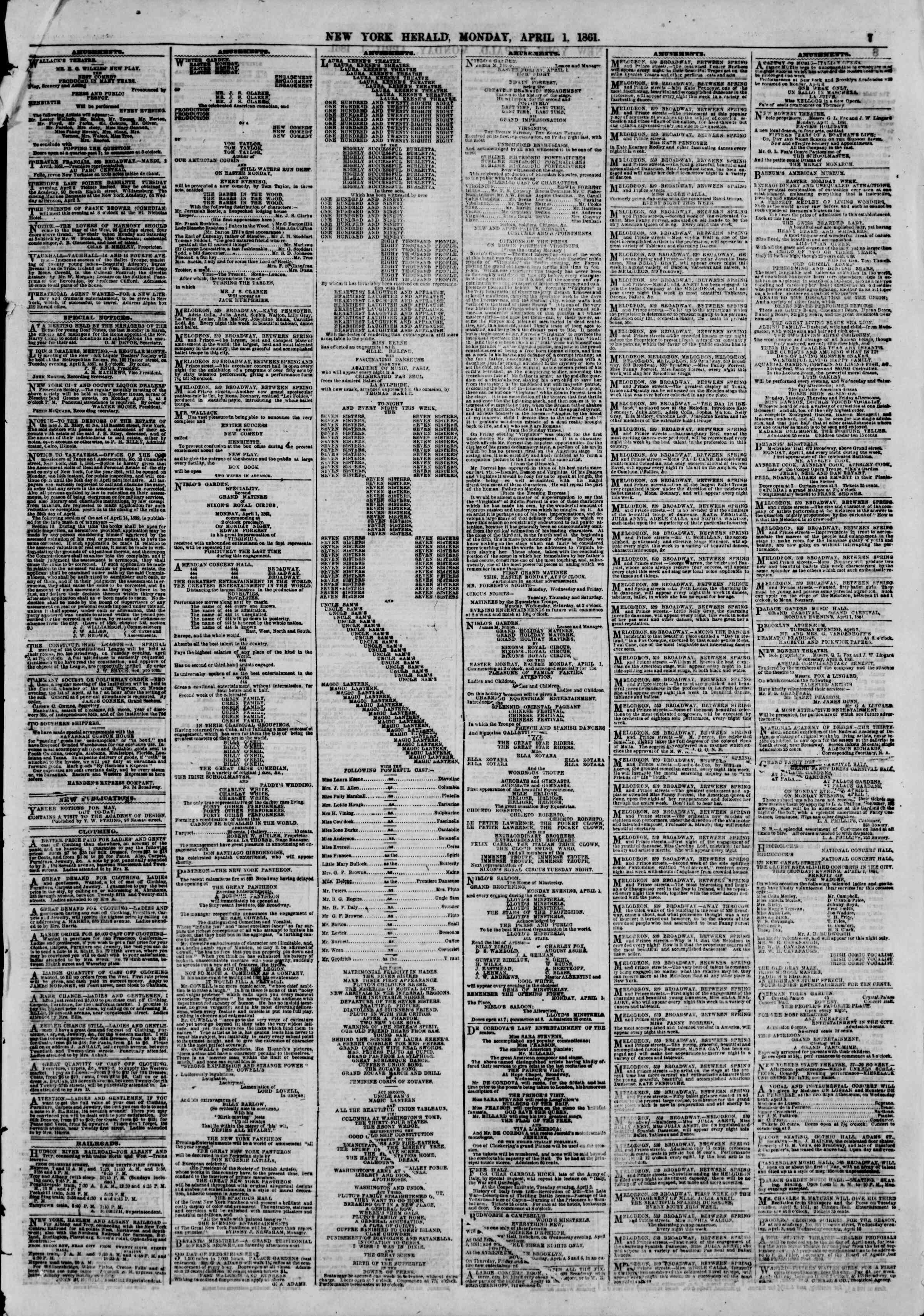 Newspaper of The New York Herald dated April 1, 1861 Page 7