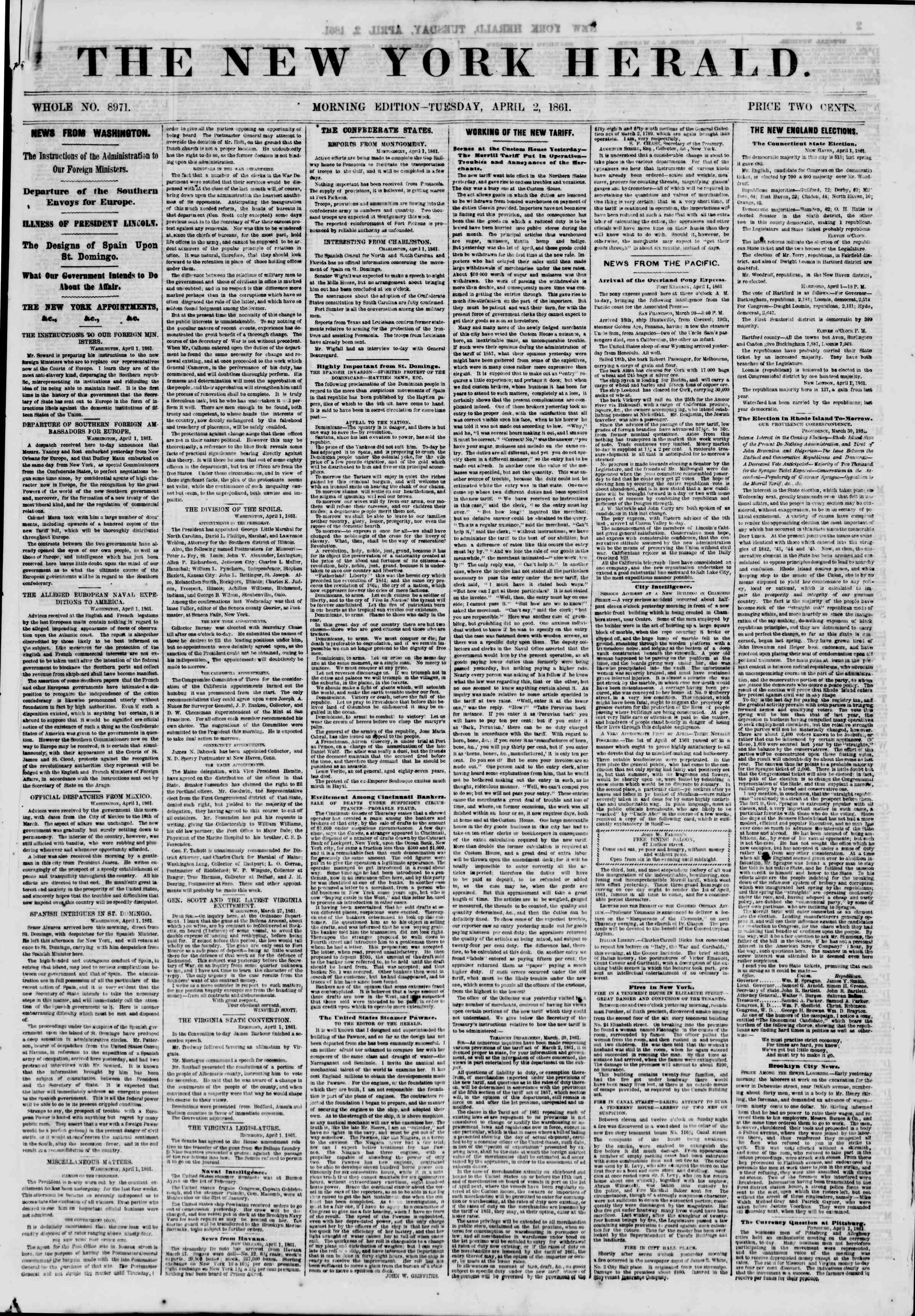 Newspaper of The New York Herald dated April 2, 1861 Page 1