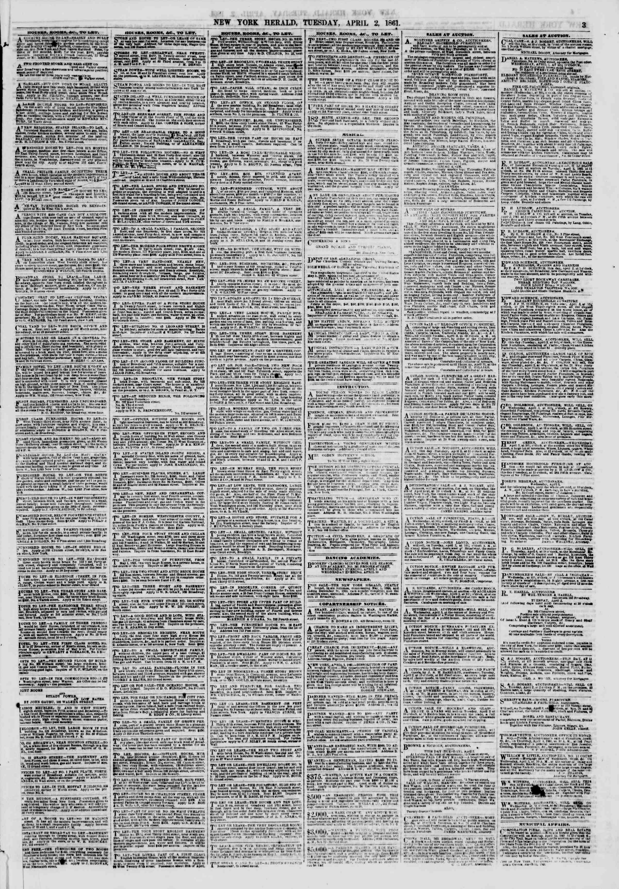 Newspaper of The New York Herald dated April 2, 1861 Page 3