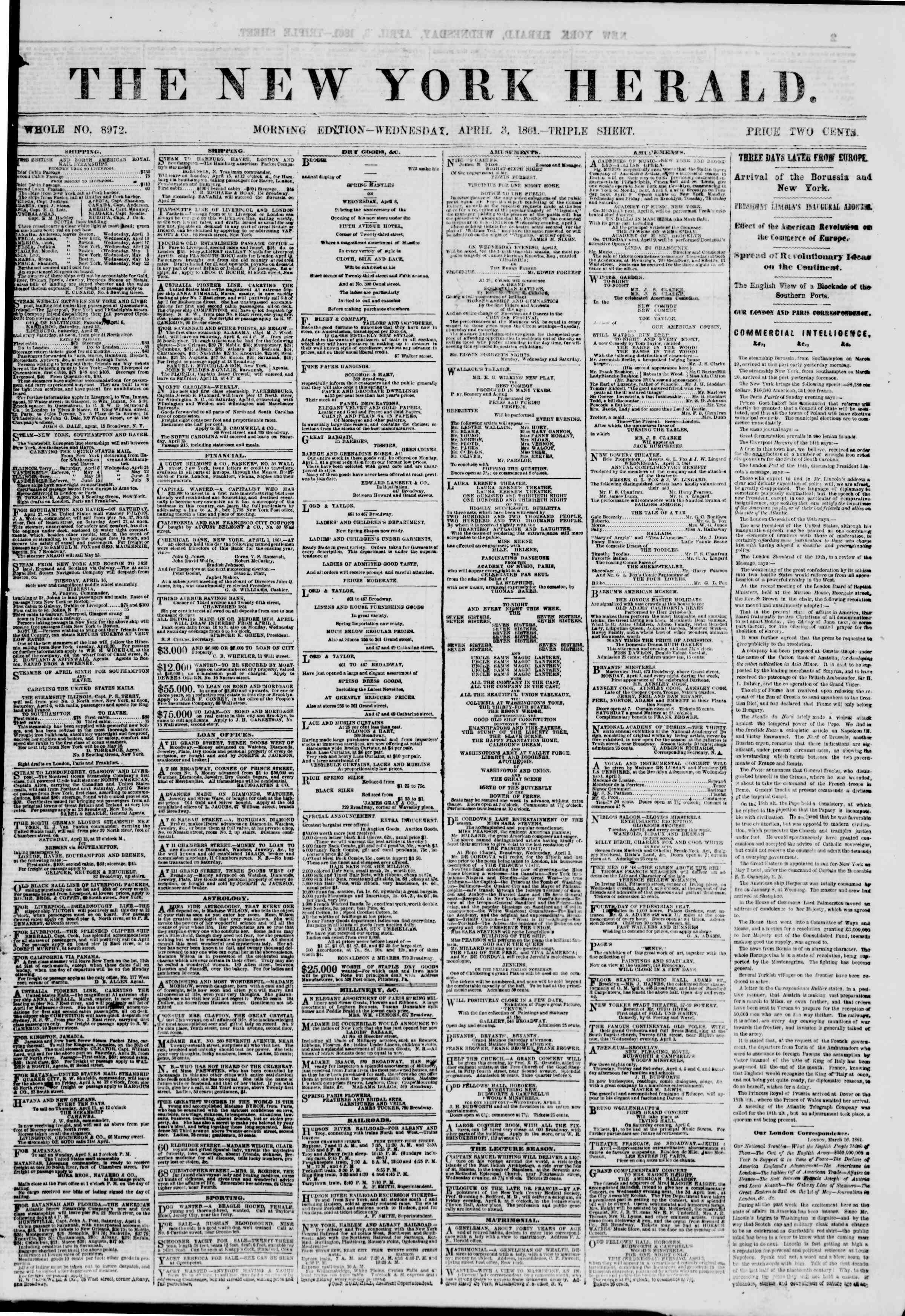 Newspaper of The New York Herald dated April 3, 1861 Page 1