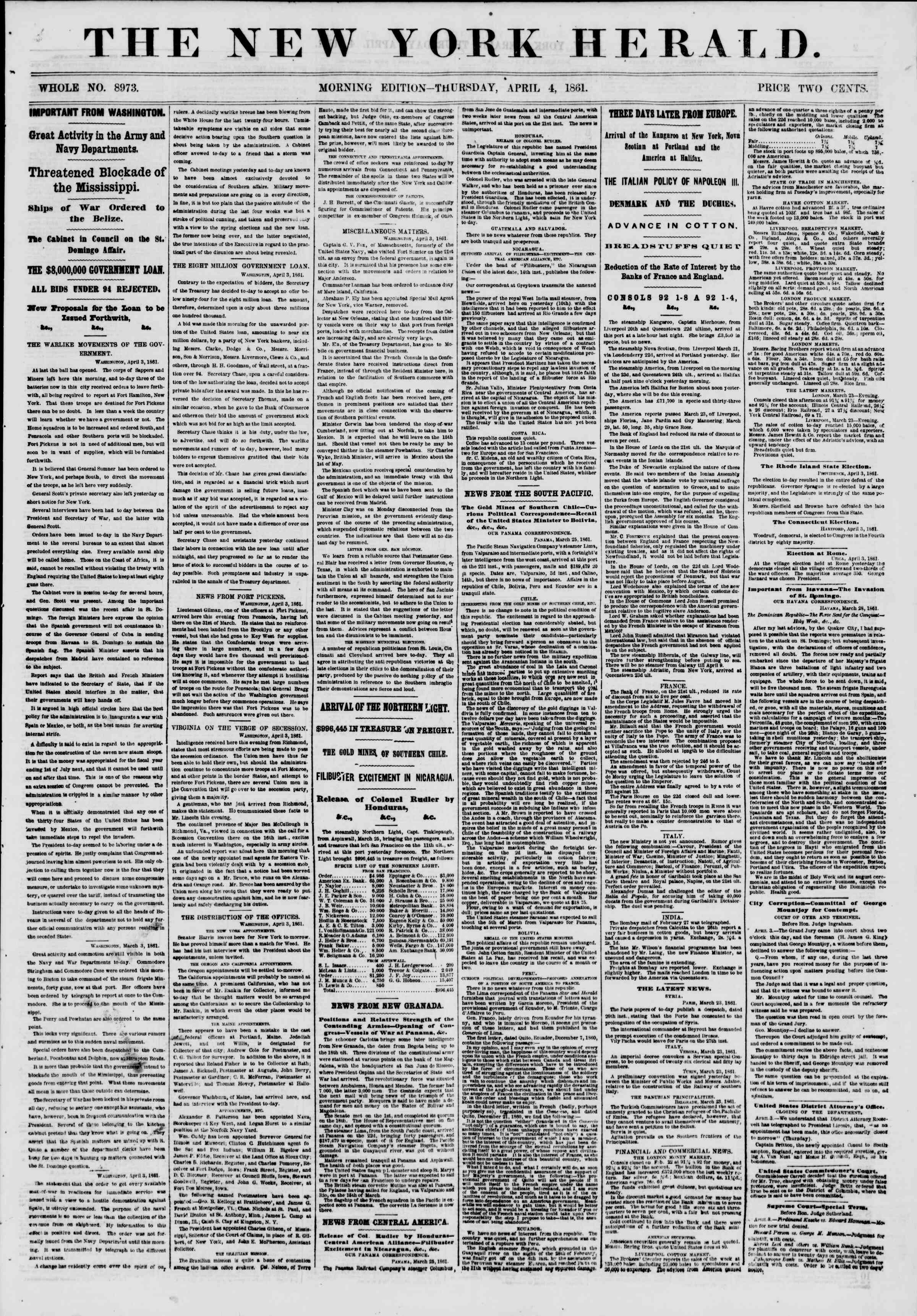 Newspaper of The New York Herald dated April 4, 1861 Page 1