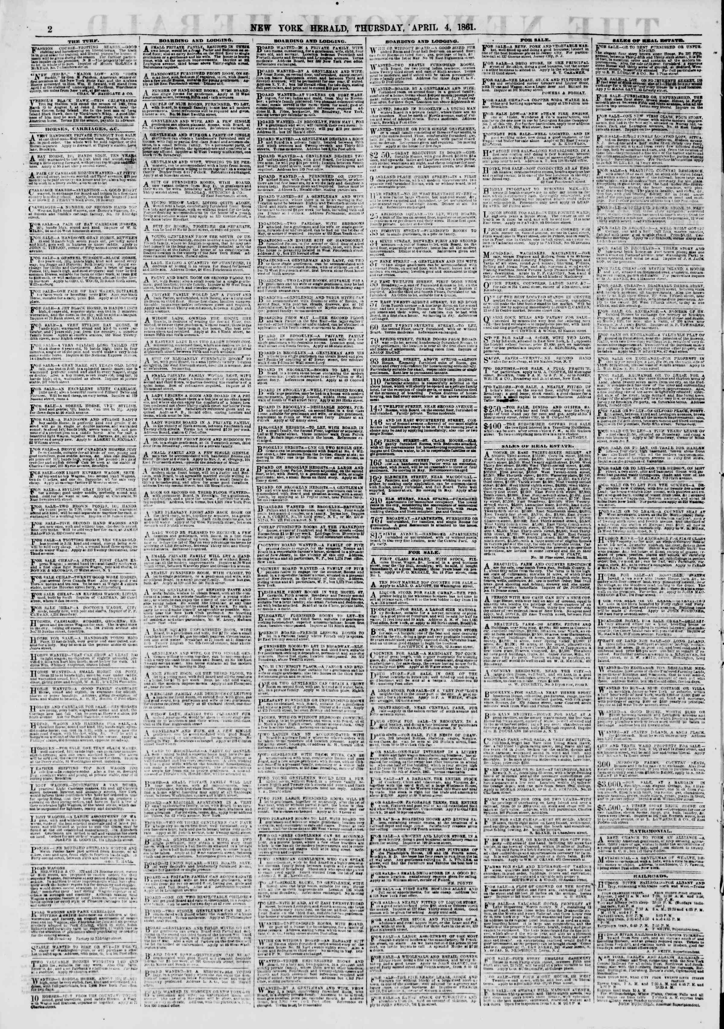 Newspaper of The New York Herald dated April 4, 1861 Page 2