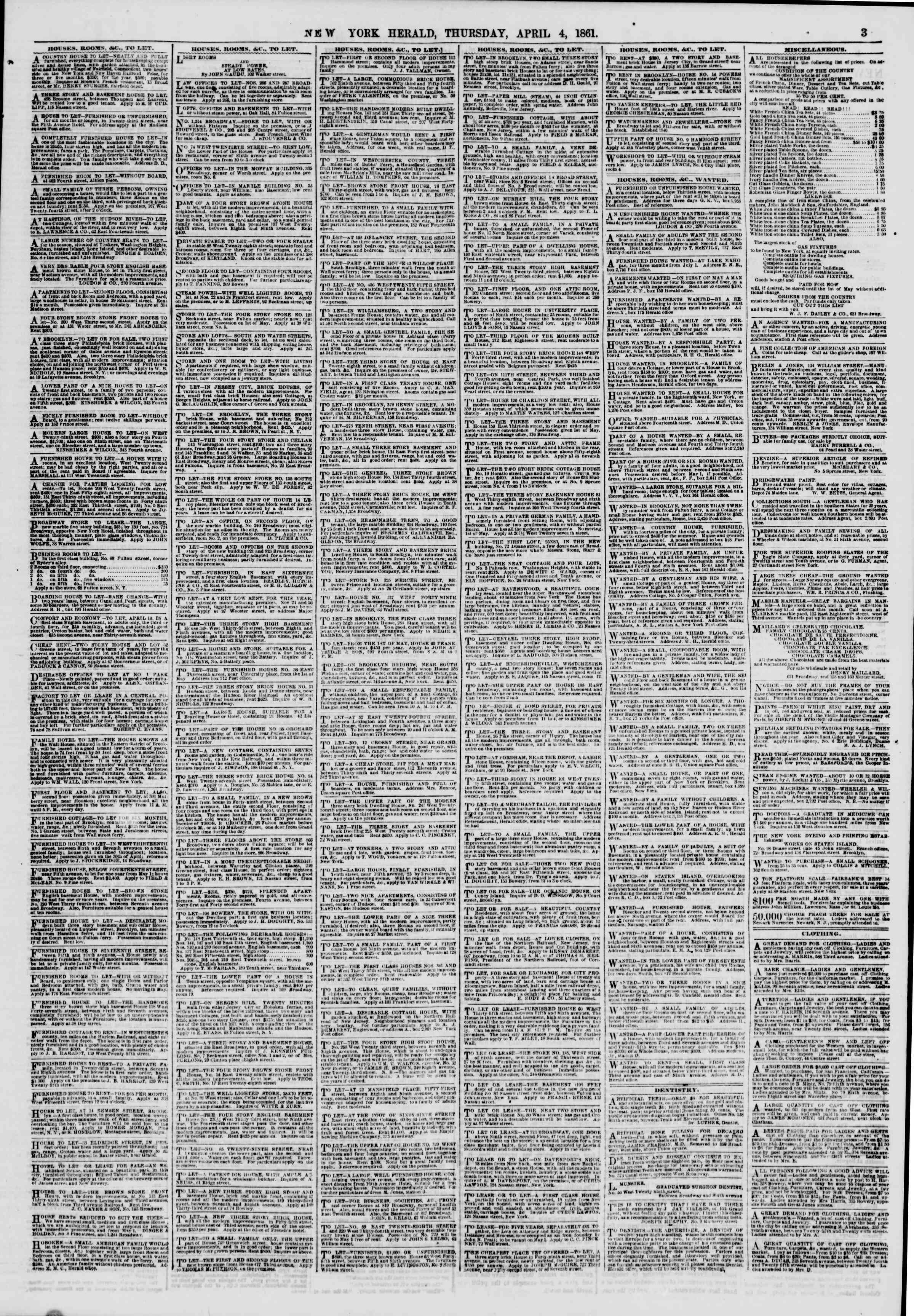 Newspaper of The New York Herald dated April 4, 1861 Page 3