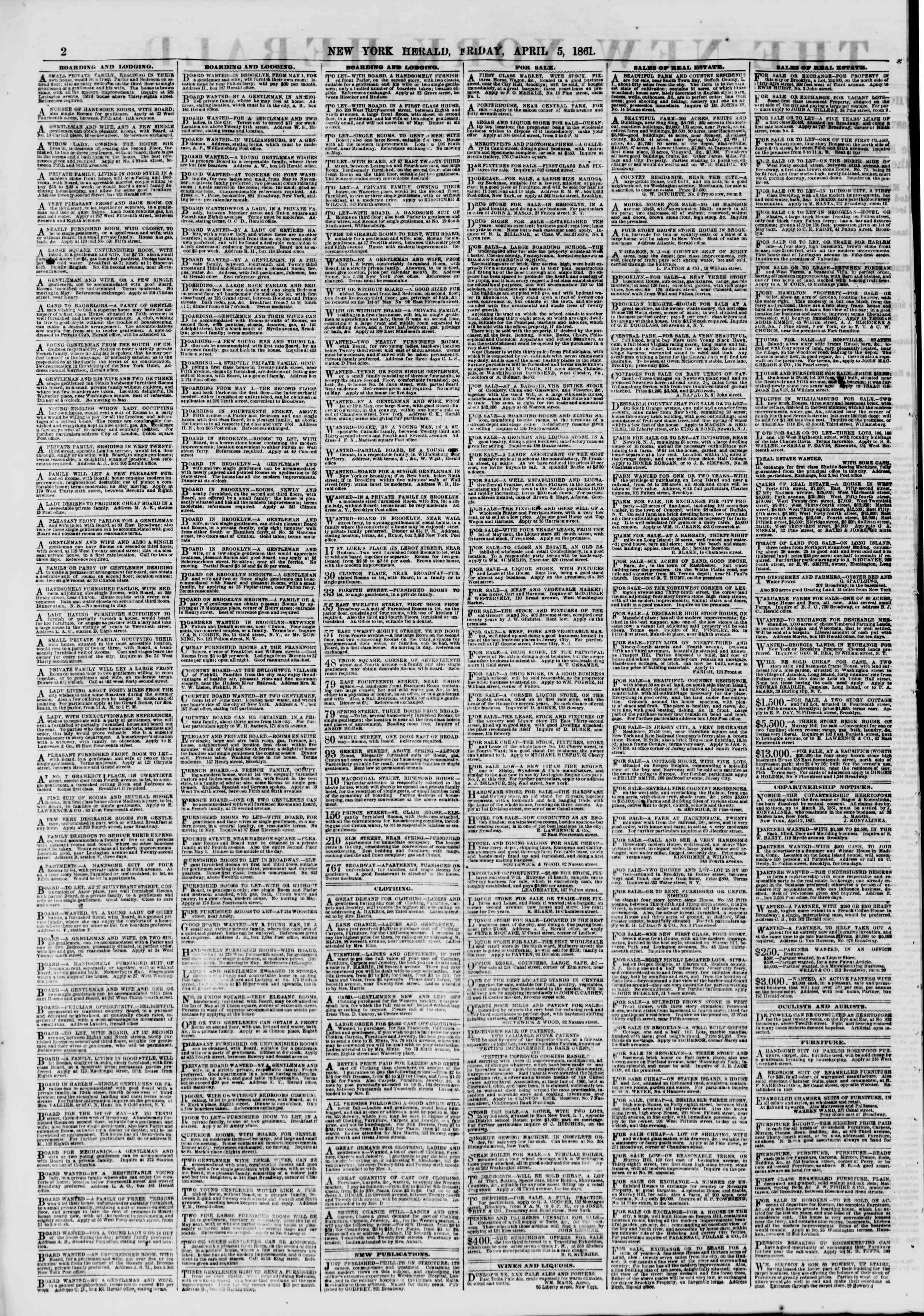 Newspaper of The New York Herald dated April 5, 1861 Page 2