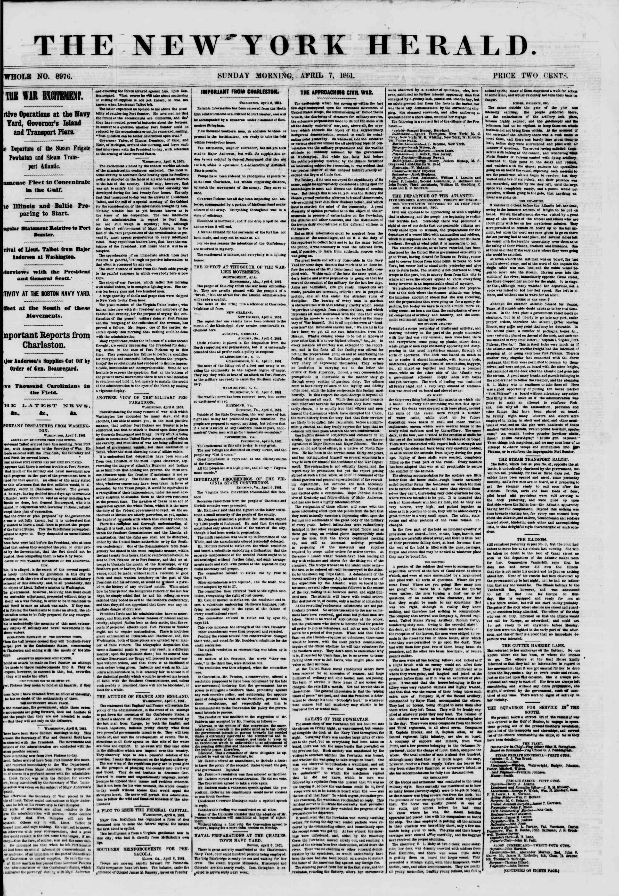 Newspaper of The New York Herald dated April 7, 1861 Page 1