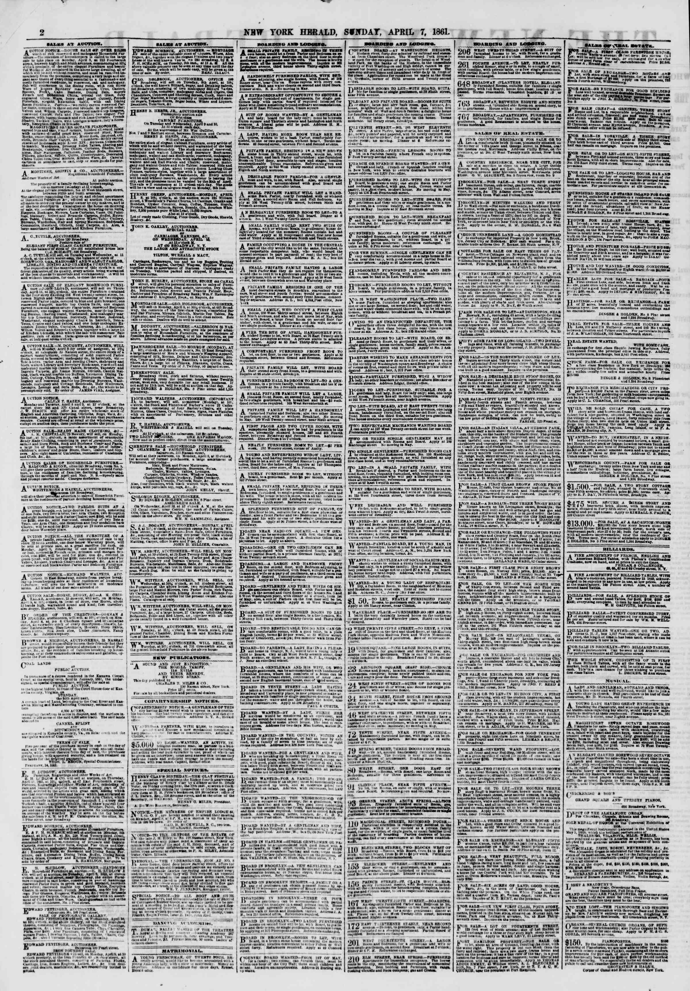 Newspaper of The New York Herald dated April 7, 1861 Page 2